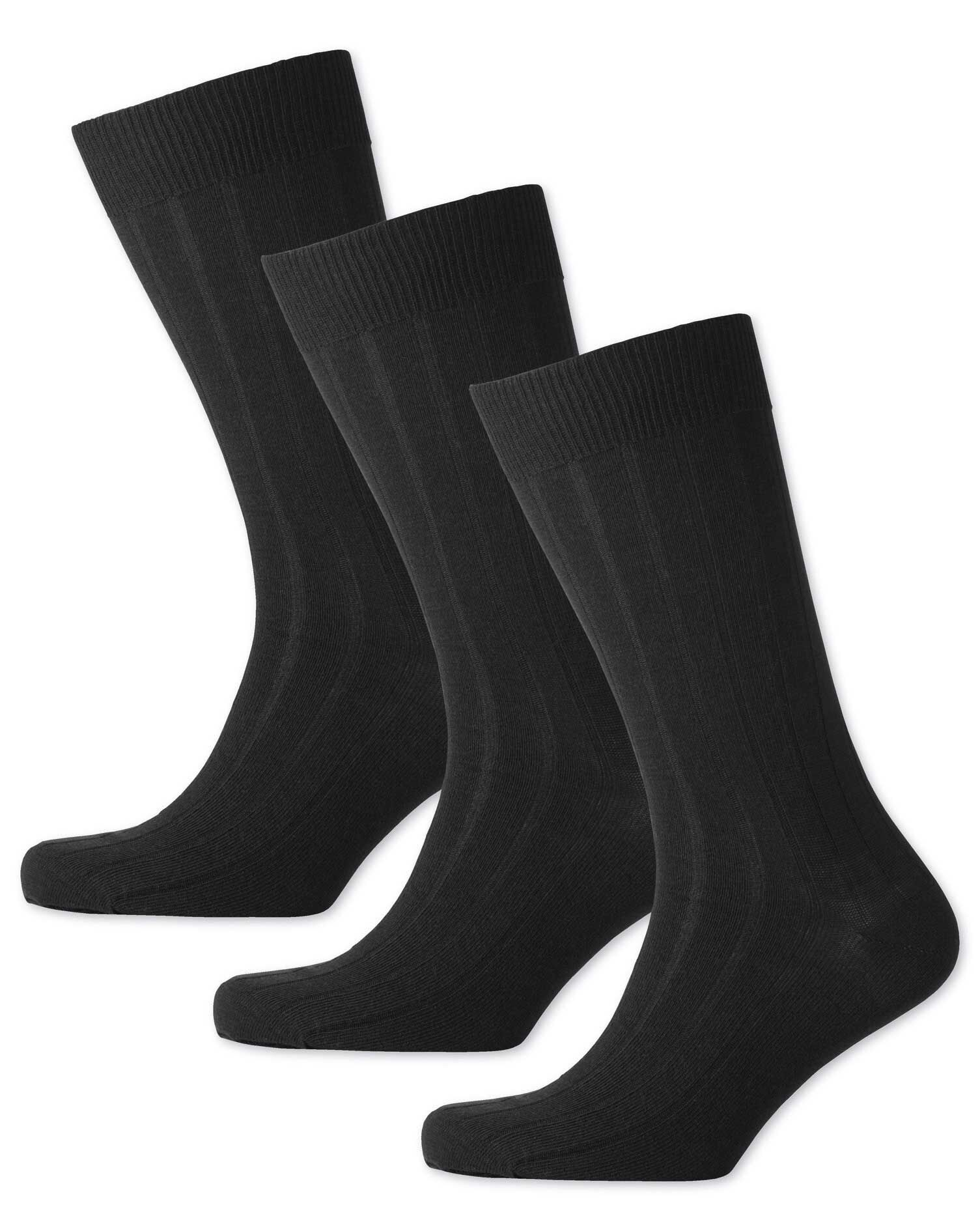 Black Wool Rich 3 Pack Socks Size Large by Charles Tyrwhitt