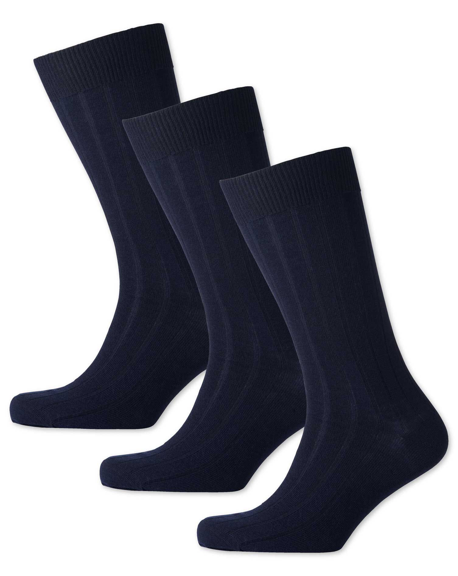 Navy Wool Rich 3 Pack Socks Size Large by Charles Tyrwhitt