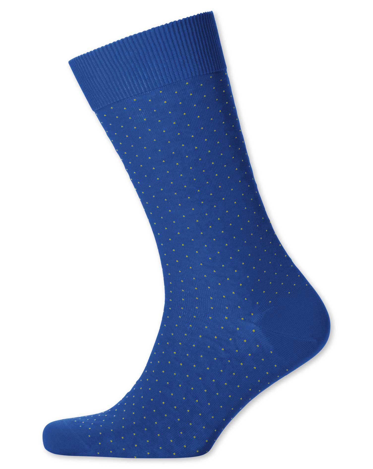 Royal Blue Micro Dash Socks Size Large by Charles Tyrwhitt