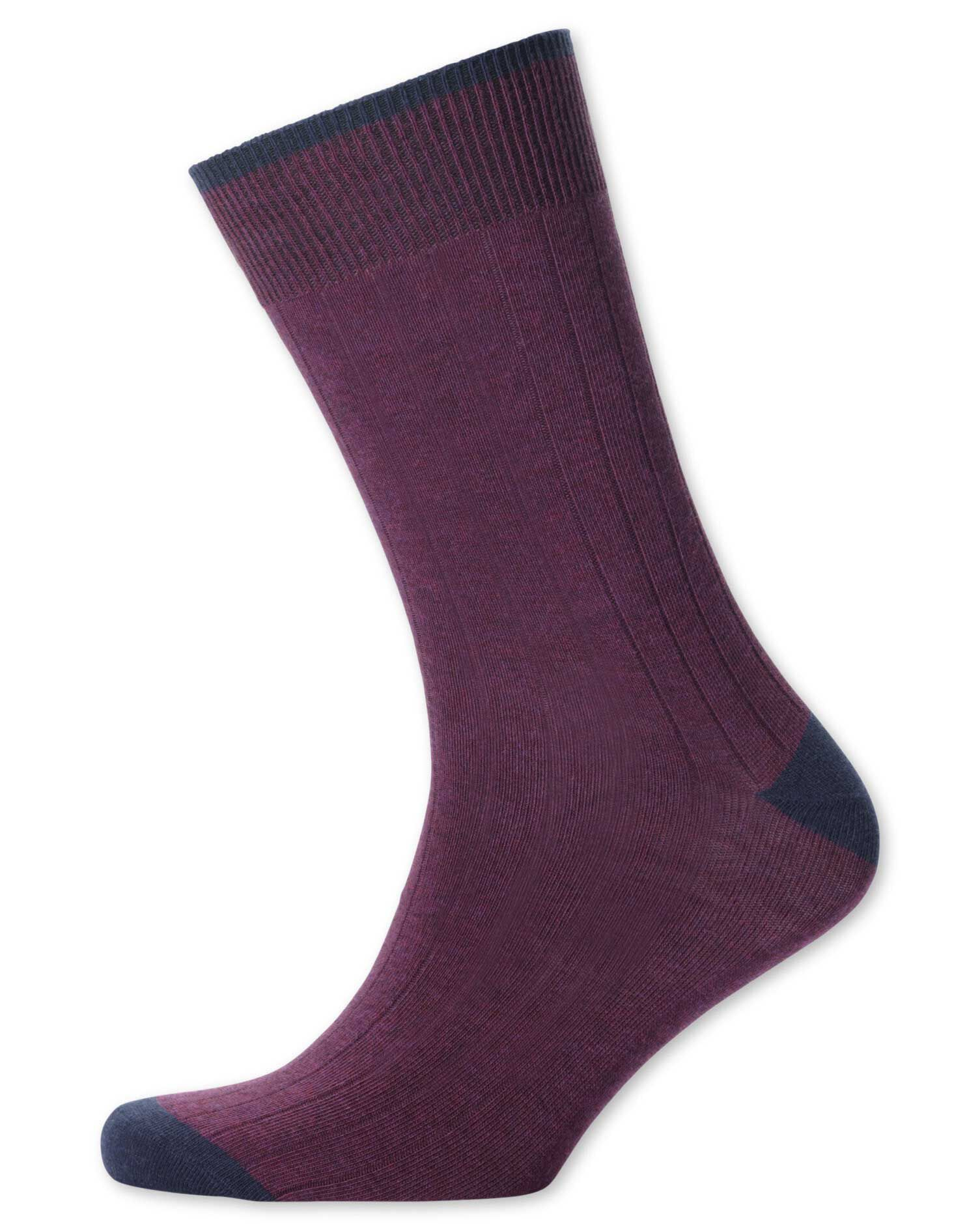 Berry Ribbed Socks Size Medium by Charles Tyrwhitt