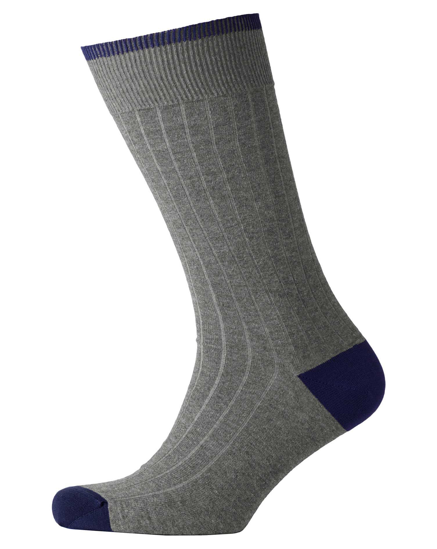 Grey Ribbed Socks Size Large by Charles Tyrwhitt