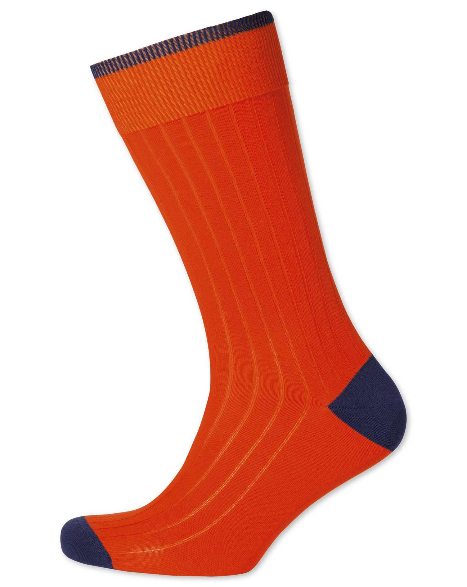 Orange Ribbed Cotton Rich Socks Size Medium by Charles Tyrwhitt