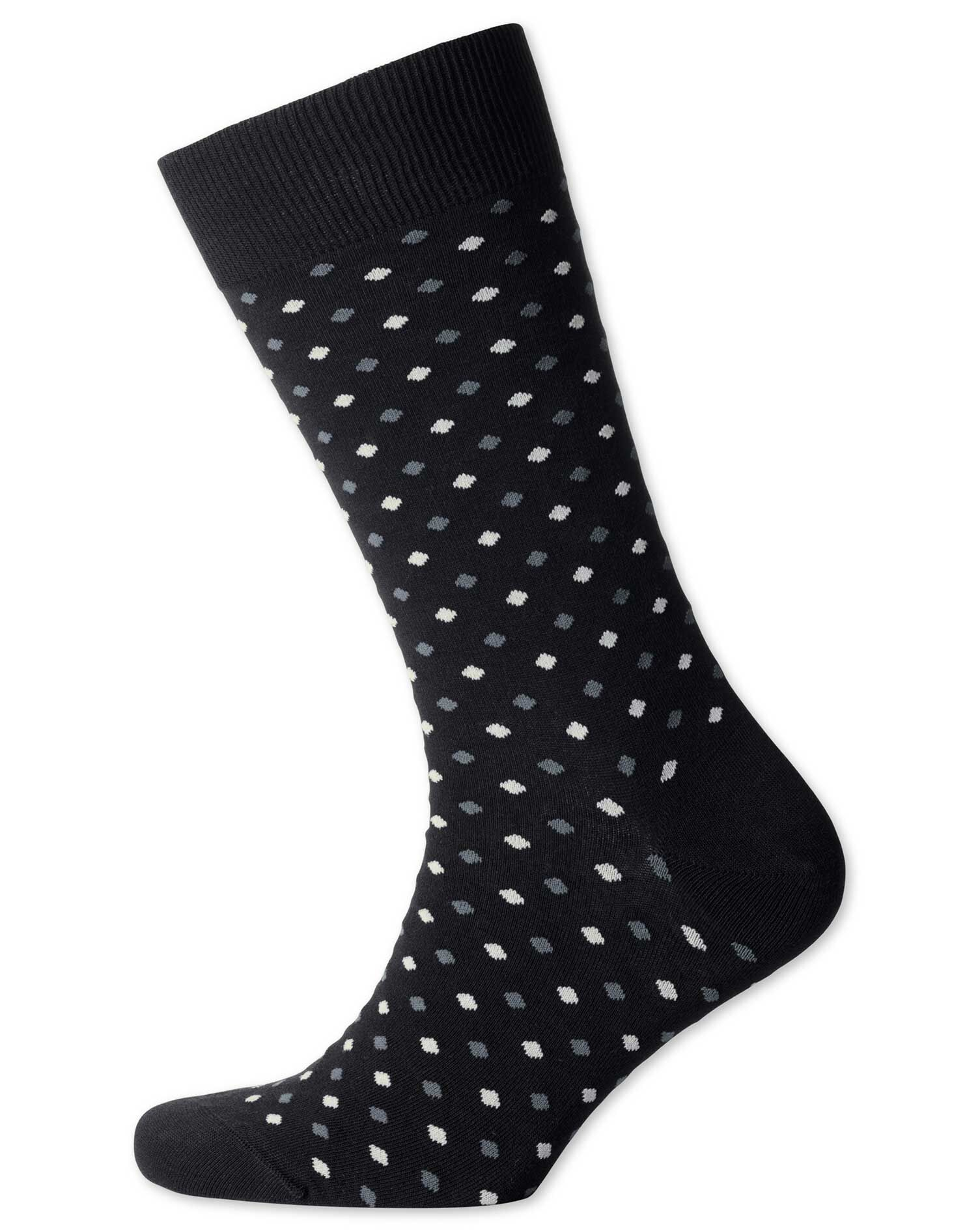 Black Small Spot Socks Size Medium by Charles Tyrwhitt