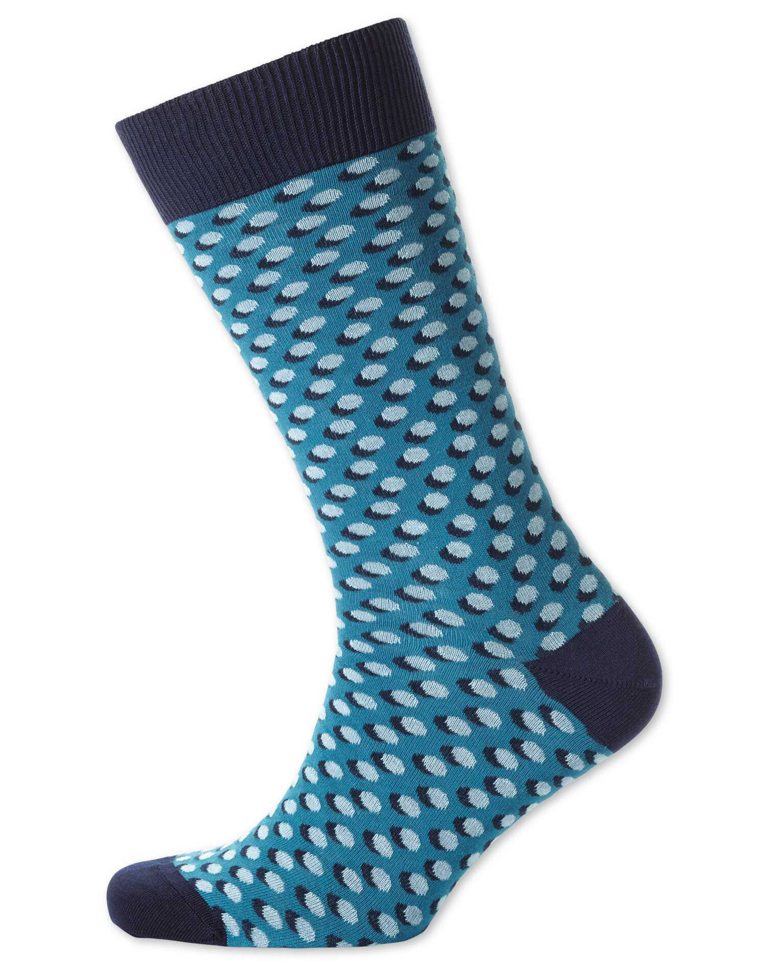 Blue Shadow Spot Socks Size Large by Charles Tyrwhitt