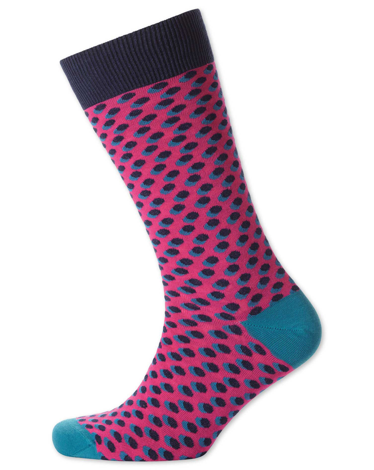 Pink Shadow Spot Socks Size Large by Charles Tyrwhitt