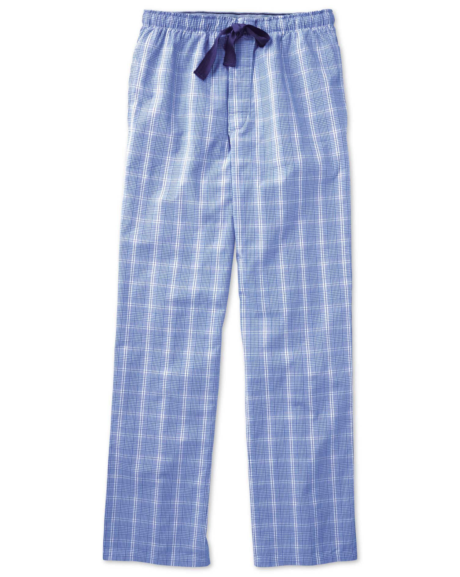 Royal Blue Prince Of Wales Cotton Pyjama Trousers Size XS by Charles Tyrwhitt