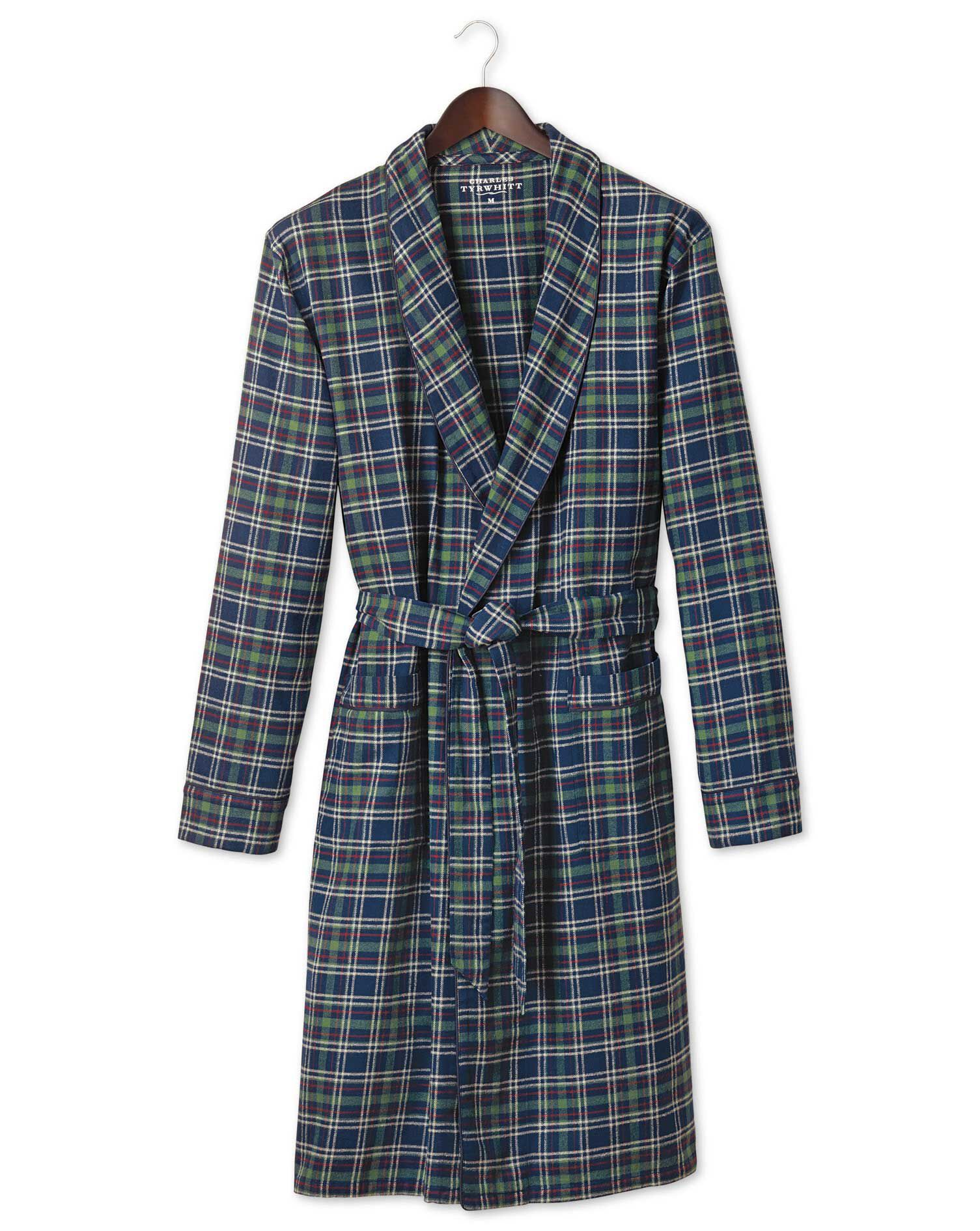 Navy Check Cotton Robe Size XS by Charles Tyrwhitt