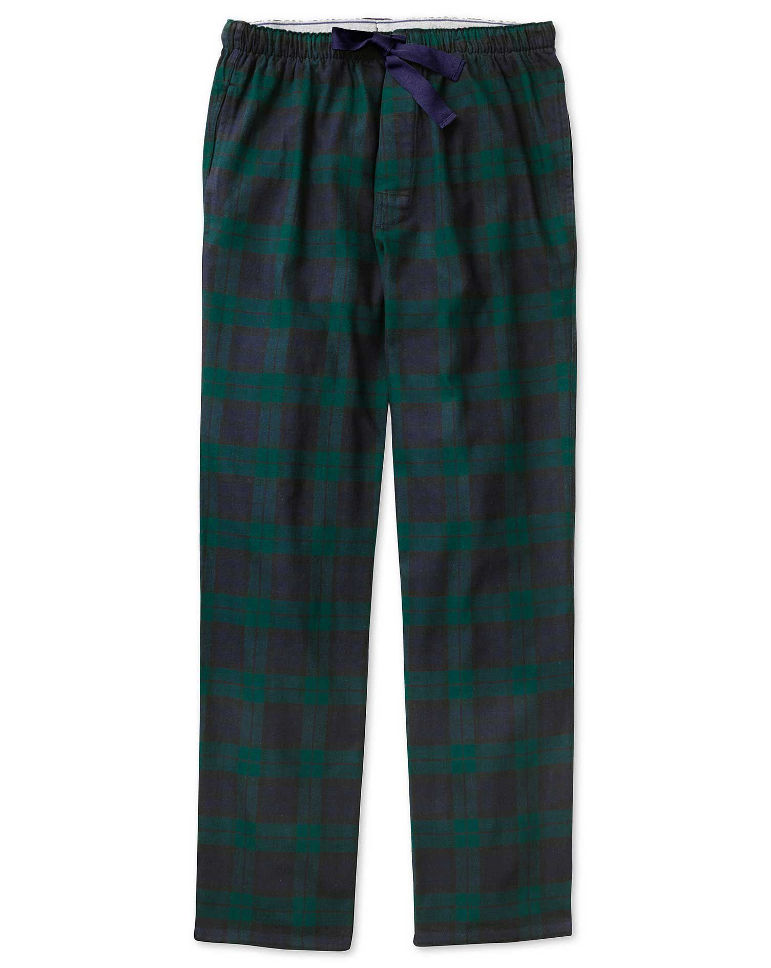 Navy and Green Check Brushed Cotton Pyjama Trousers Size Small by Charles Tyrwhitt