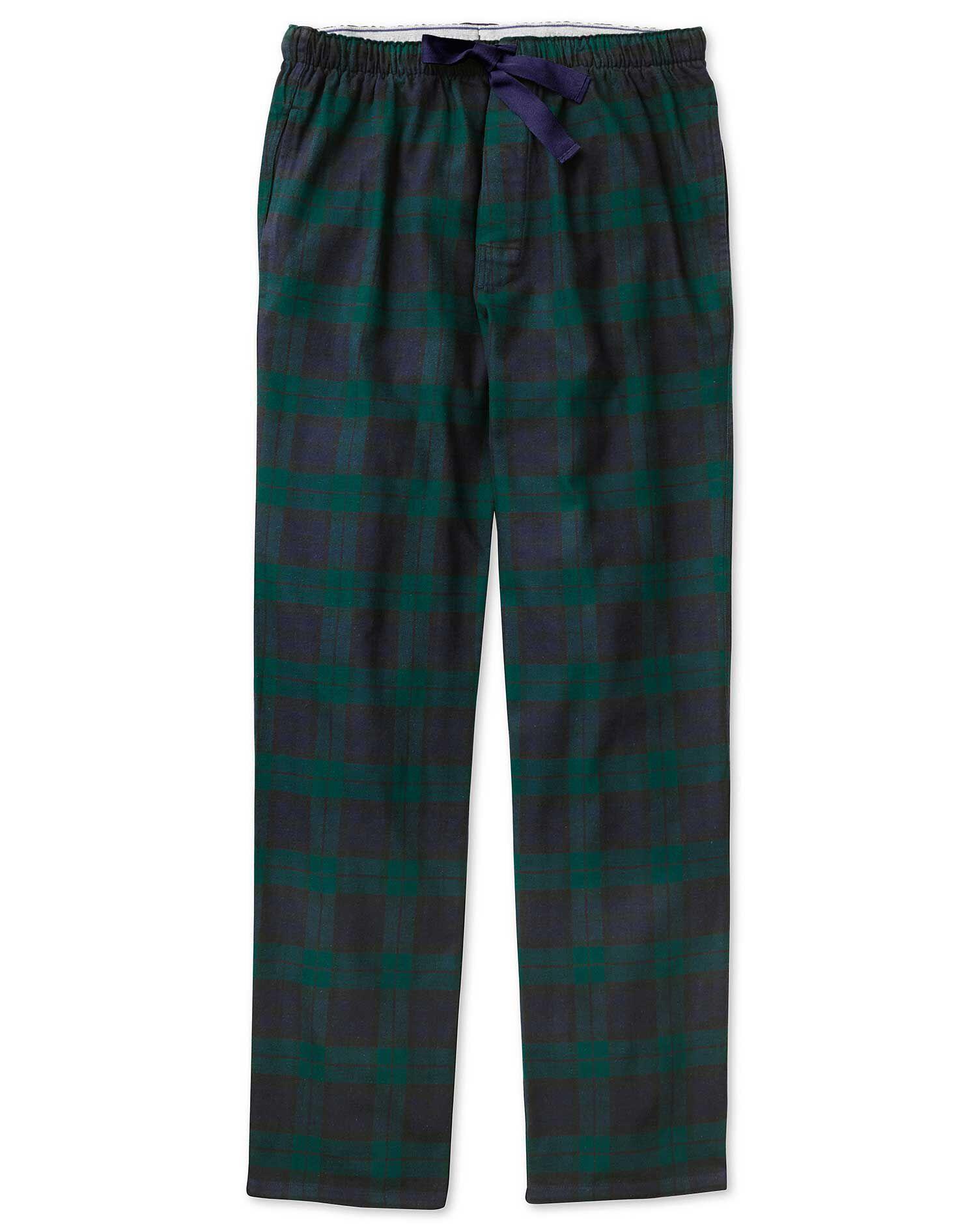 pyjama hose aus geb rsteter baumwoll in marineblau und gr n mit karos g nstig schnell einkaufen. Black Bedroom Furniture Sets. Home Design Ideas