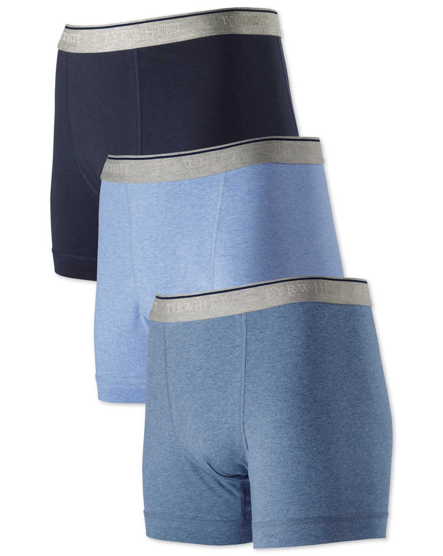 Blue Jersey 3 Pack Trunks Size XS by Charles Tyrwhitt