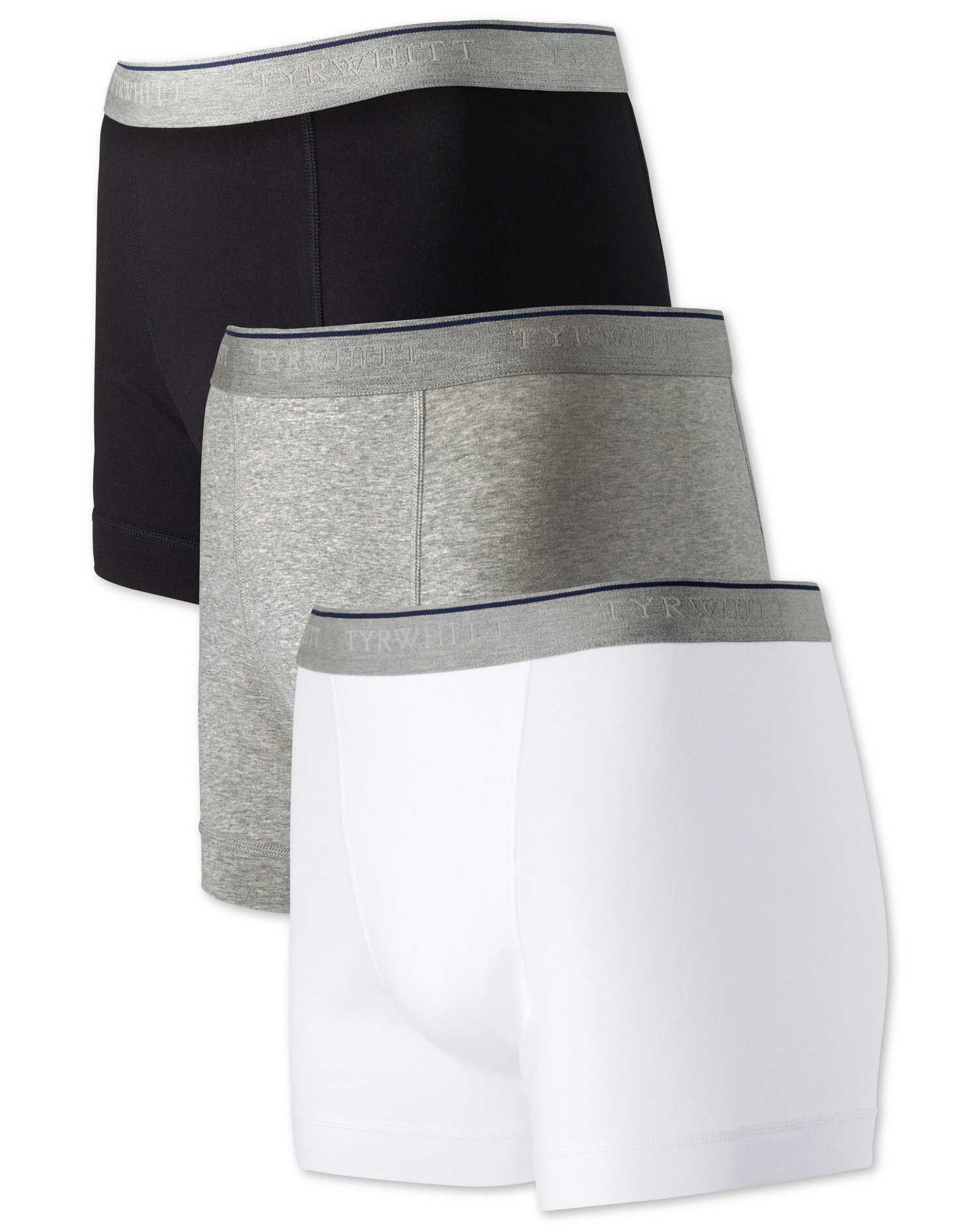 White Multi Jersey 3 Pack Trunks Size Large by Charles Tyrwhitt