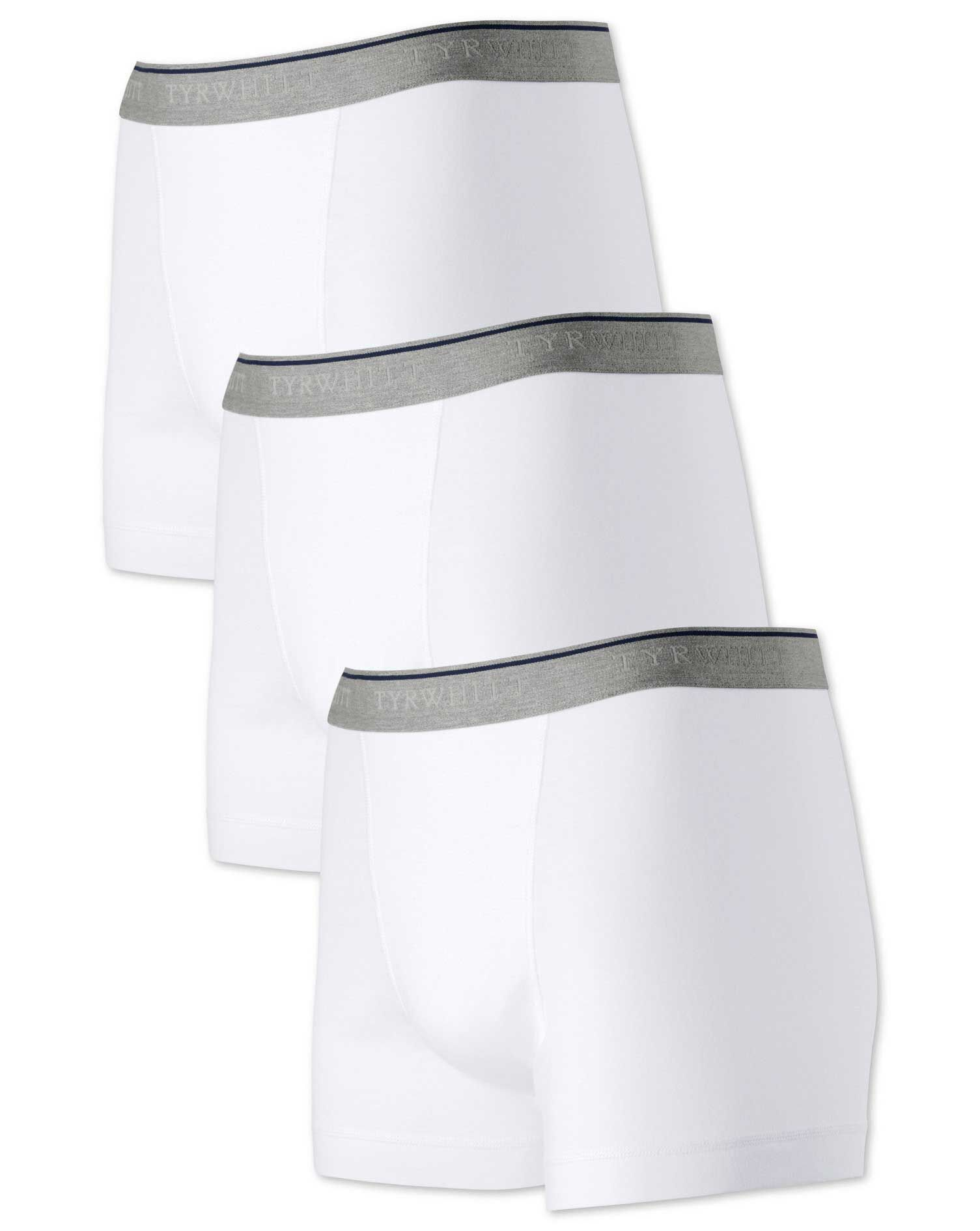 White Jersey 3 Pack Trunks Size XS by Charles Tyrwhitt