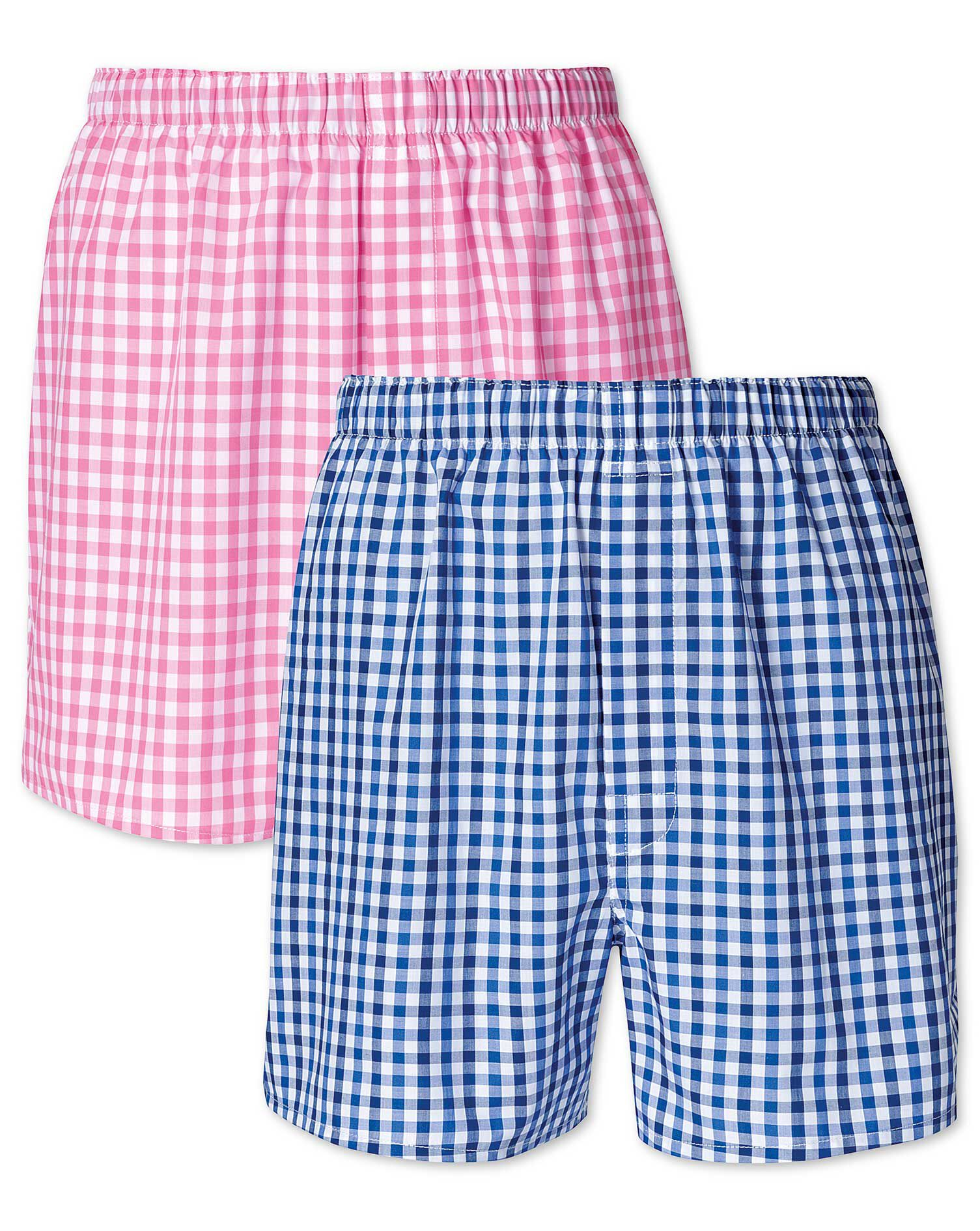 Pink and Blue Gingham 2 Pack Boxers Size XS by Charles Tyrwhitt