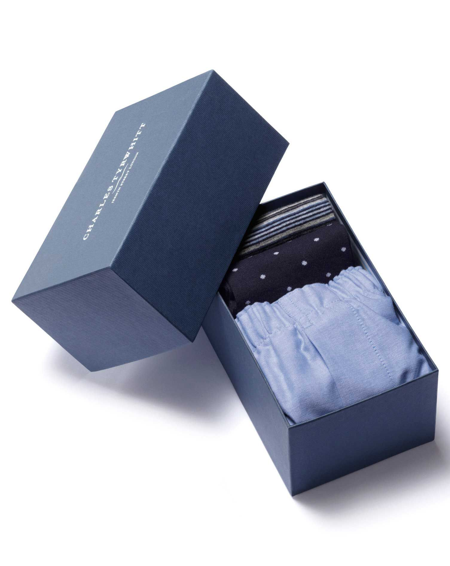 Navy Boxer and Sock Gift Box Size Large by Charles Tyrwhitt
