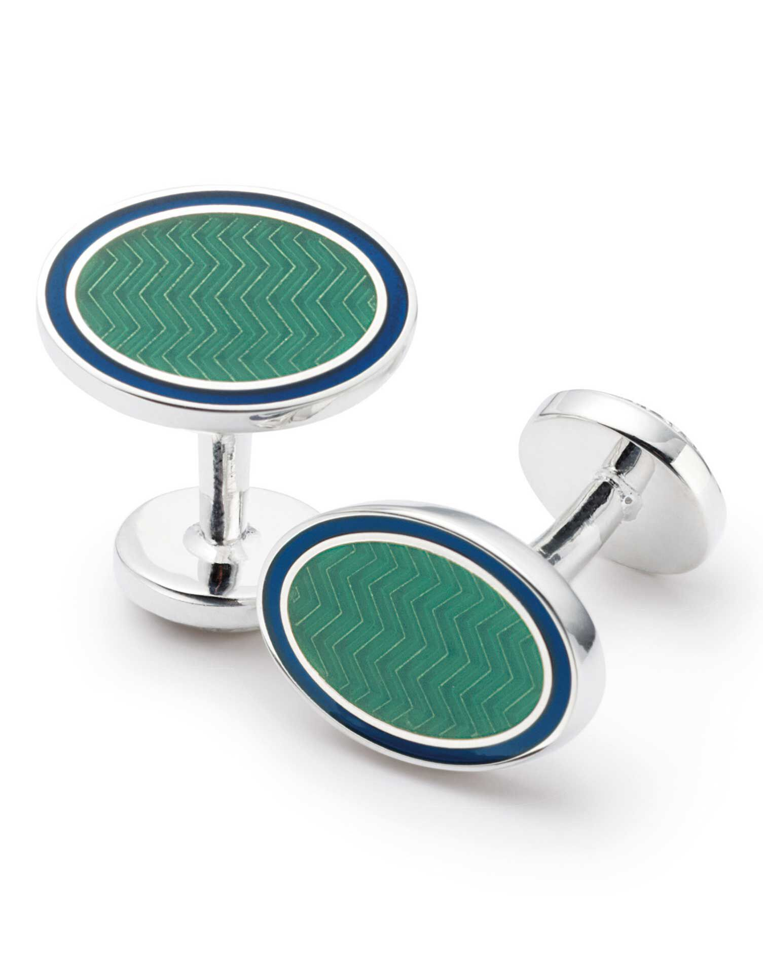 Green Wave Oval Enamel Cuff Links by Charles Tyrwhitt