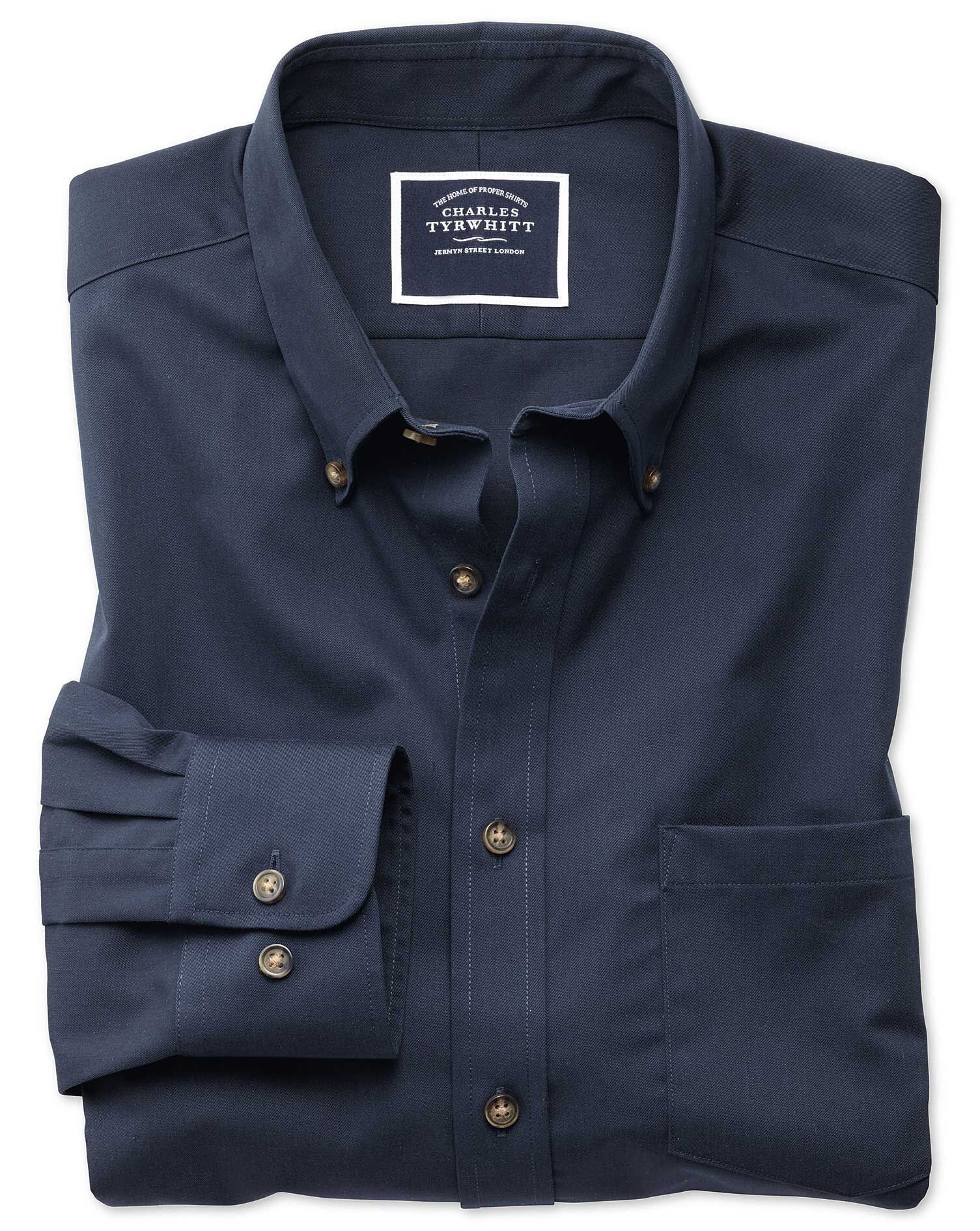 Classic Fit Button-Down Non-Iron Twill Navy Blue Cotton Shirt Single Cuff Size Small by Charles Tyrw