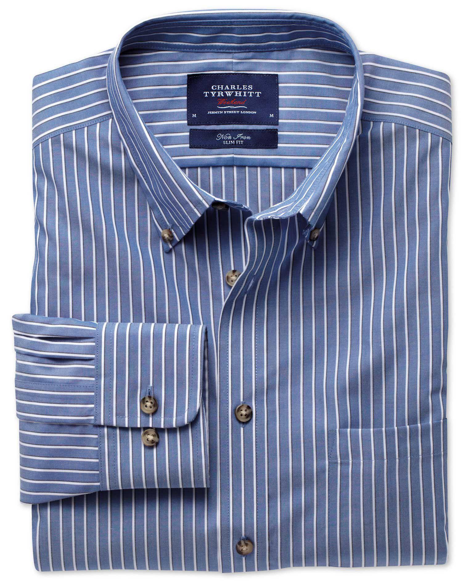 Slim Fit Non-Iron Poplin Blue and White Stripe Cotton Shirt Single Cuff Size XS by Charles Tyrwhitt