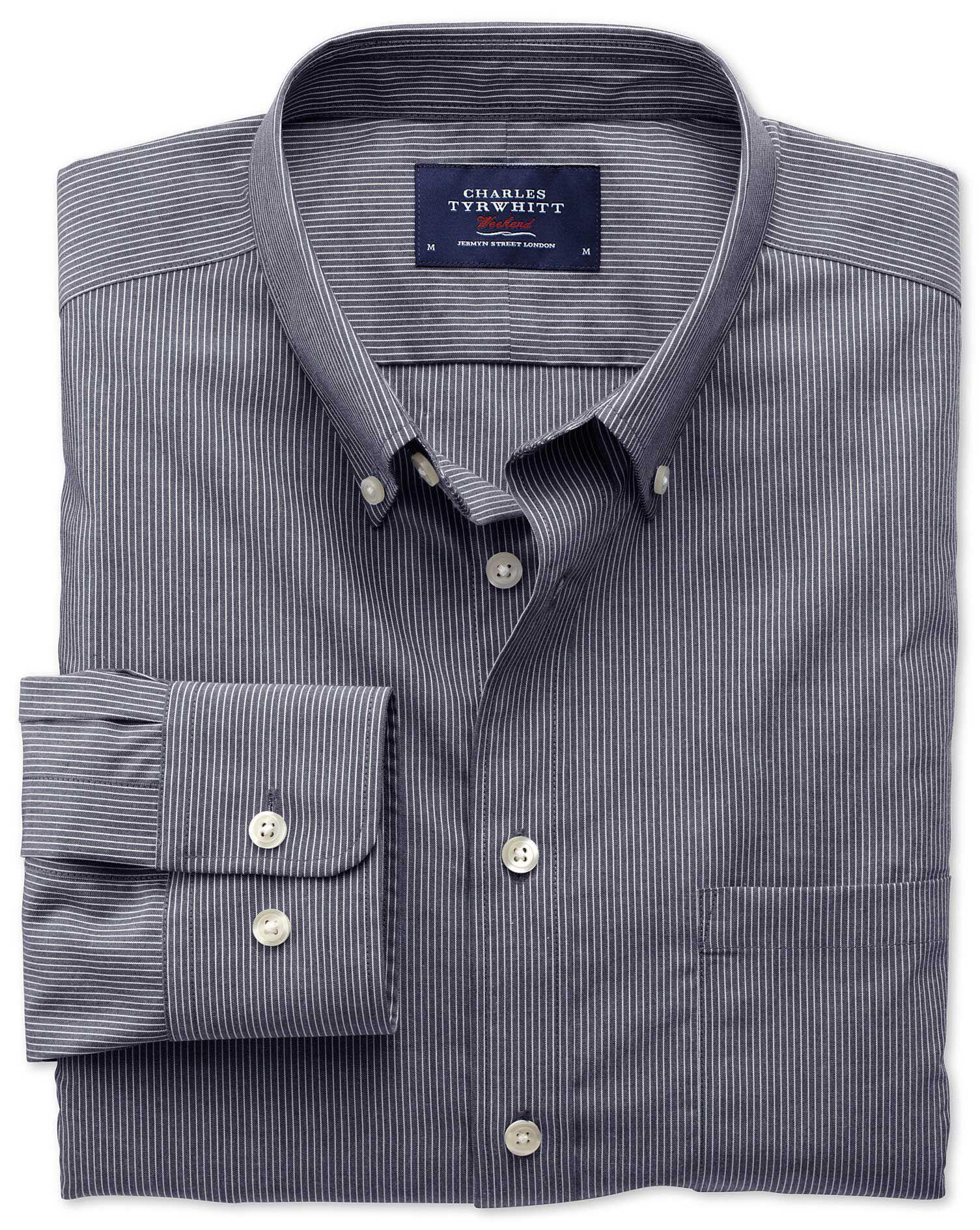 Slim Fit Non-Iron Poplin Indigo Stripe Cotton Shirt Single Cuff Size XS by Charles Tyrwhitt