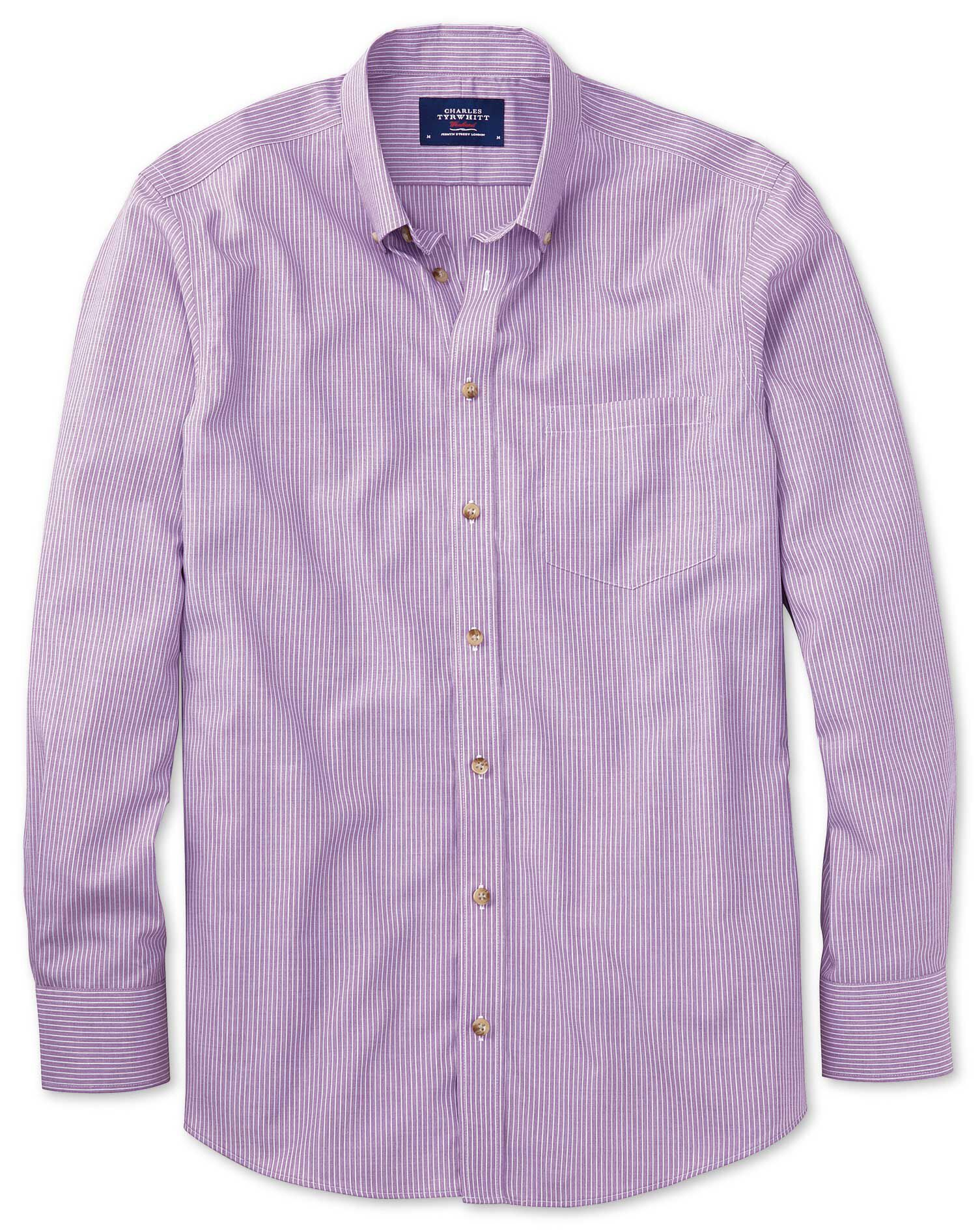 Slim Fit Non-Iron Poplin Lilac Stripe Cotton Shirt Single Cuff Size XS by Charles Tyrwhitt