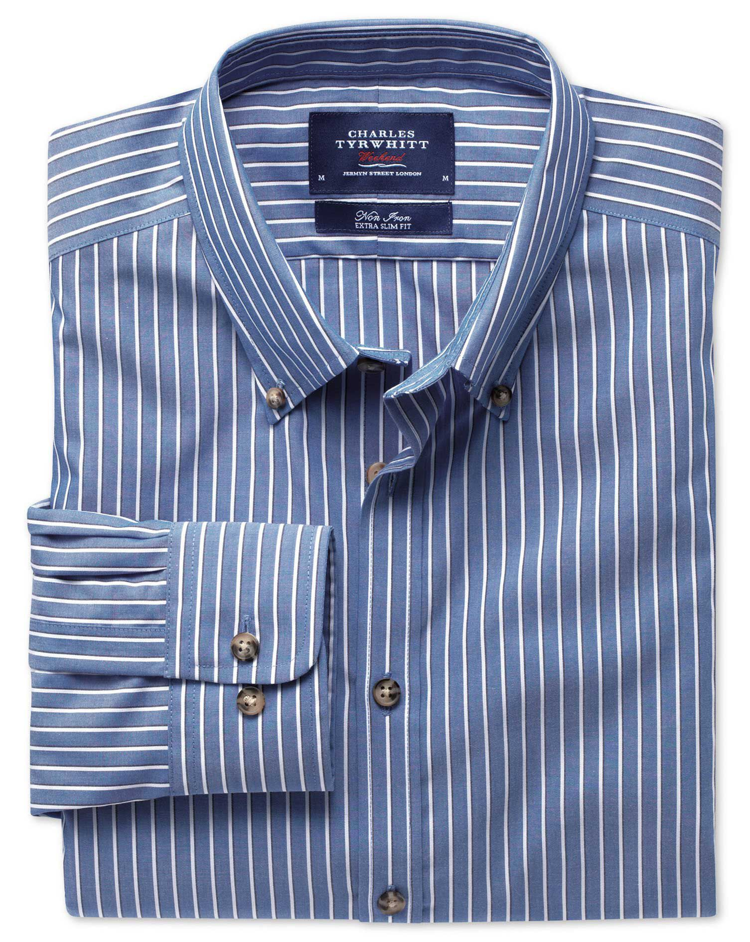 Extra Slim Fit Non-Iron Poplin Blue and White Stripe Cotton Shirt Single Cuff Size Small by Charles