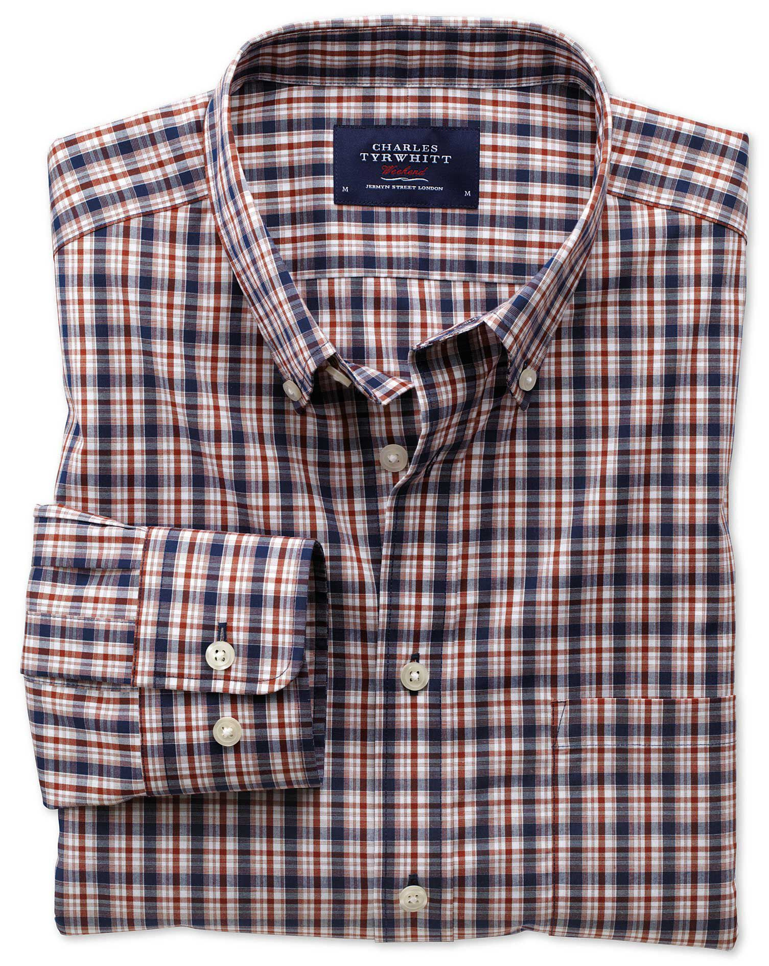 Extra Slim Fit Non-Iron Poplin Blue and Orange Check Cotton Shirt Single Cuff Size Medium by Charles