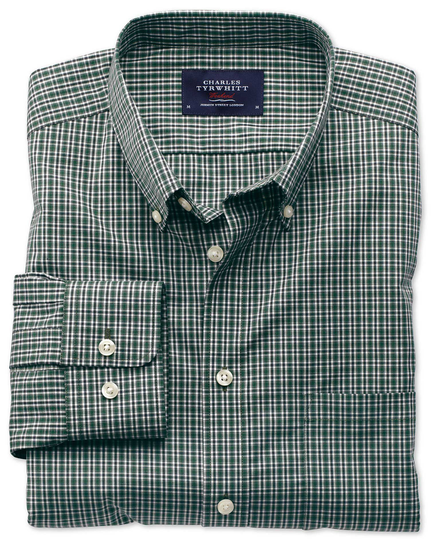 Extra Slim Fit Non-Iron Poplin Green and Blue Check Cotton Shirt Single Cuff Size Small by Charles T