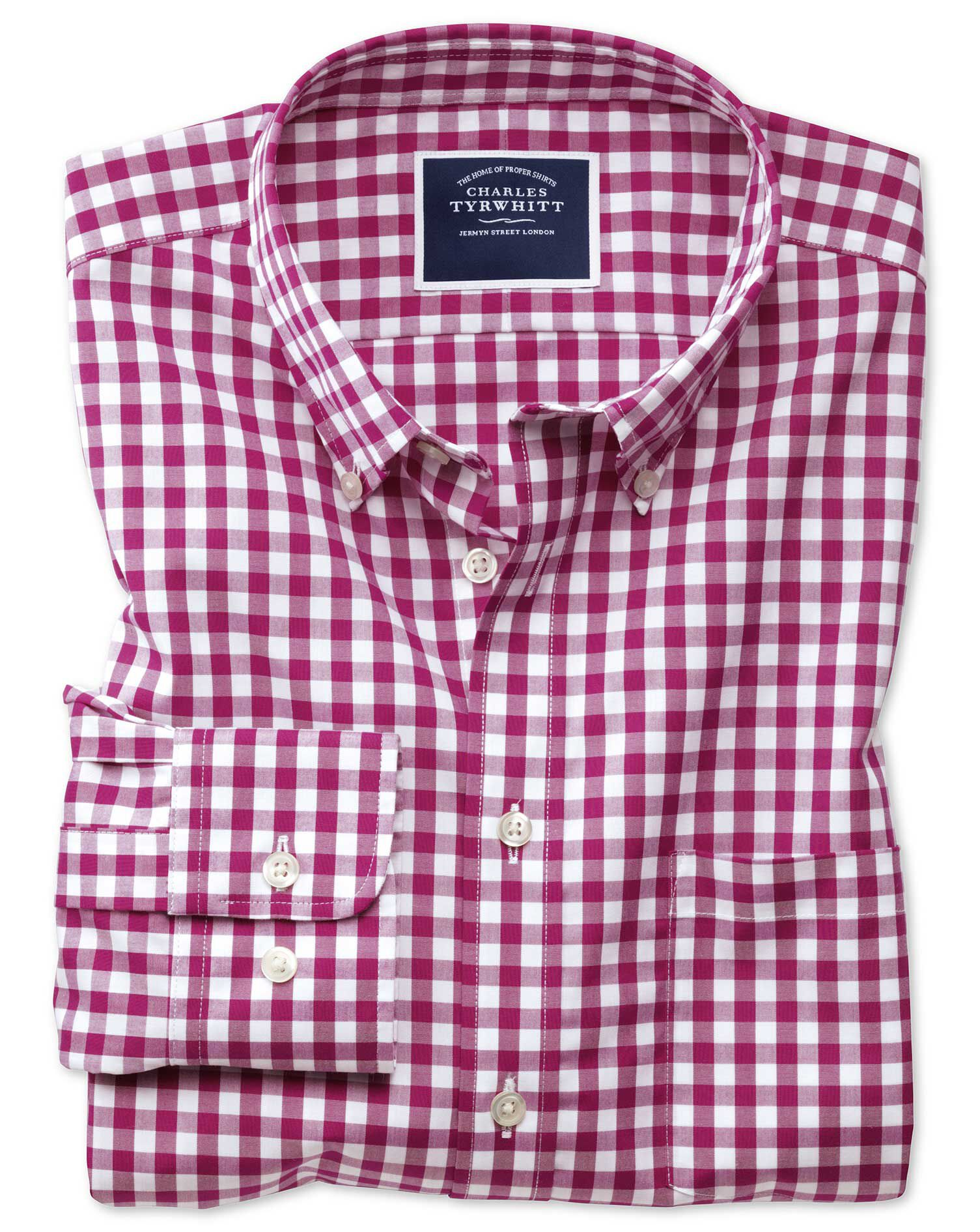 Extra Slim Fit Button-Down Non-Iron Poplin Red Gingham Cotton Shirt Single Cuff Size XXL by Charles