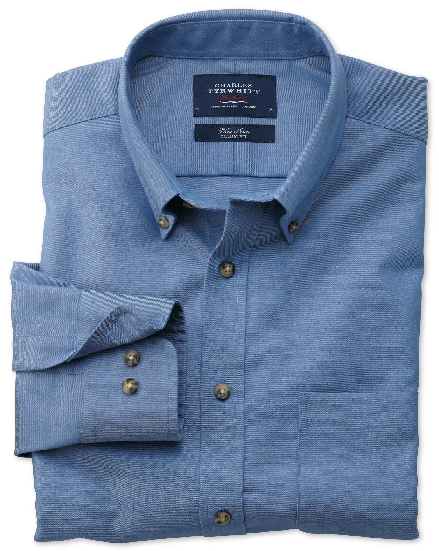 Slim Fit Non-Iron Twill Blue Cotton Shirt Single Cuff Size Small by Charles Tyrwhitt