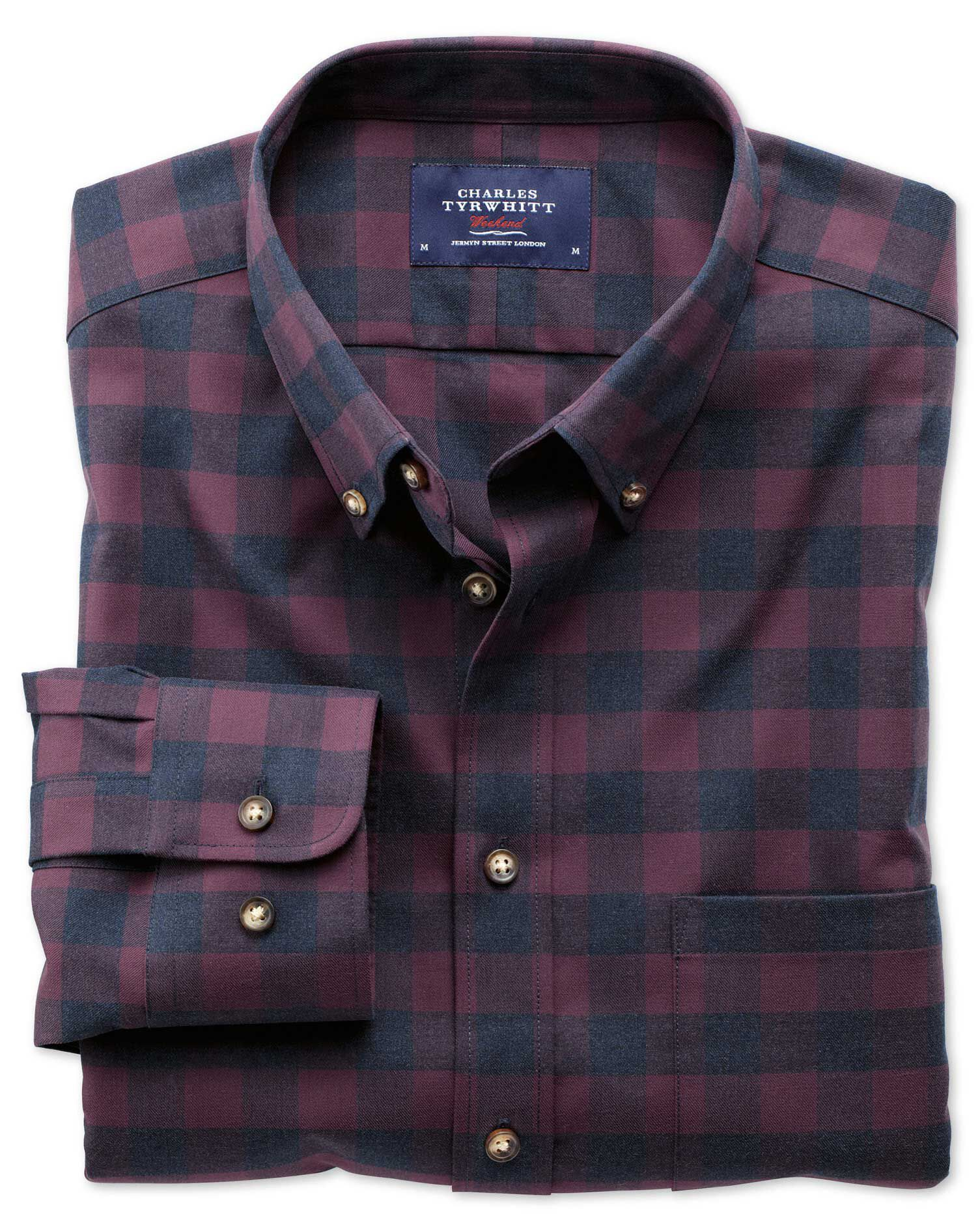 Slim Fit Non-Iron Twill Wine and Navy Check Cotton Shirt Single Cuff Size Large by Charles Tyrwhitt