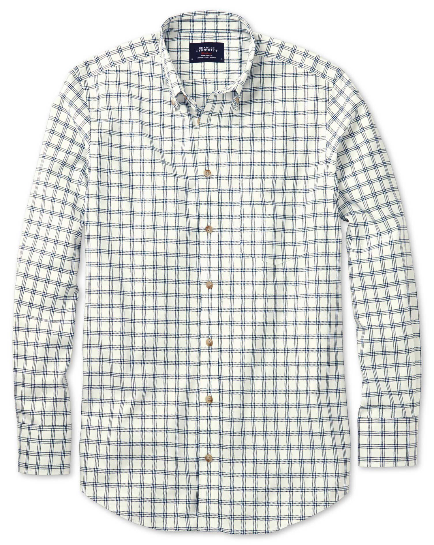 Slim Fit Non-Iron Windowpane Check White and Navy Cotton Shirt Single Cuff Size Large by Charles Tyr