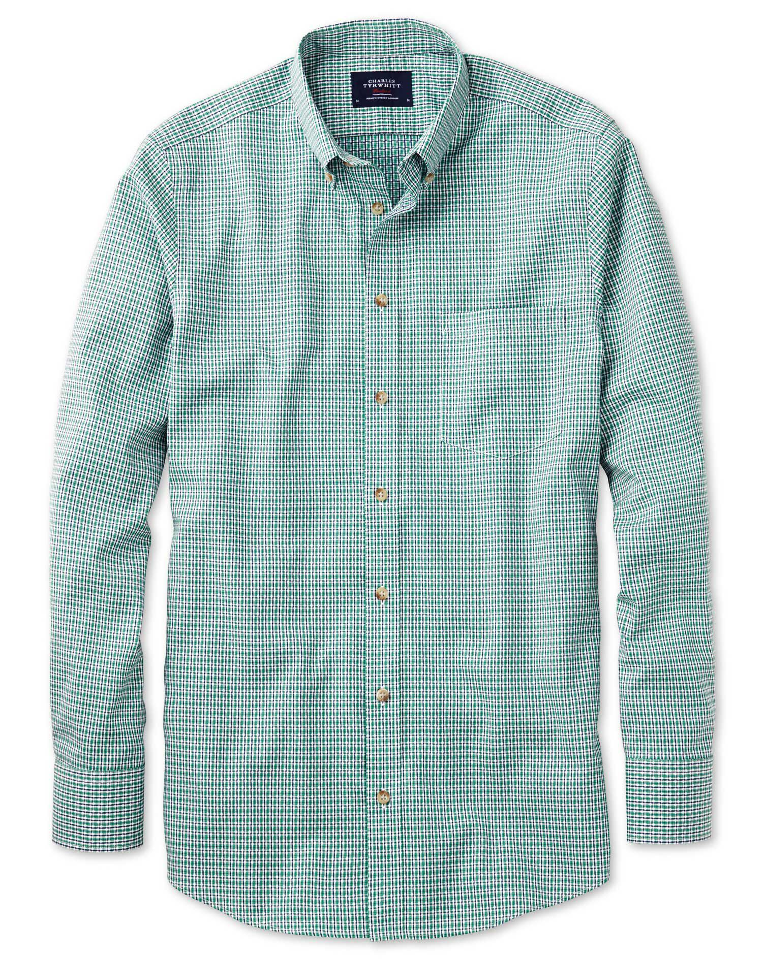 Classic Fit Non-Iron Poplin Green and Navy Check Cotton Shirt Single Cuff Size XXL by Charles Tyrwhi