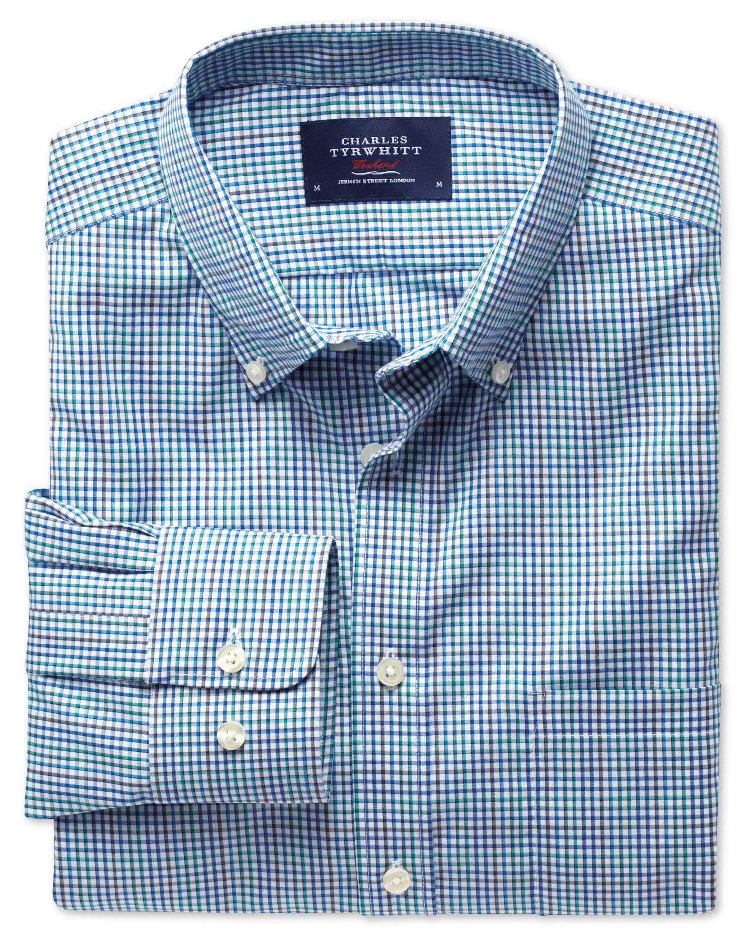 Classic Fit Non-Iron Poplin Multi Check Blue Cotton Shirt Single Cuff Size Large by Charles Tyrwhitt
