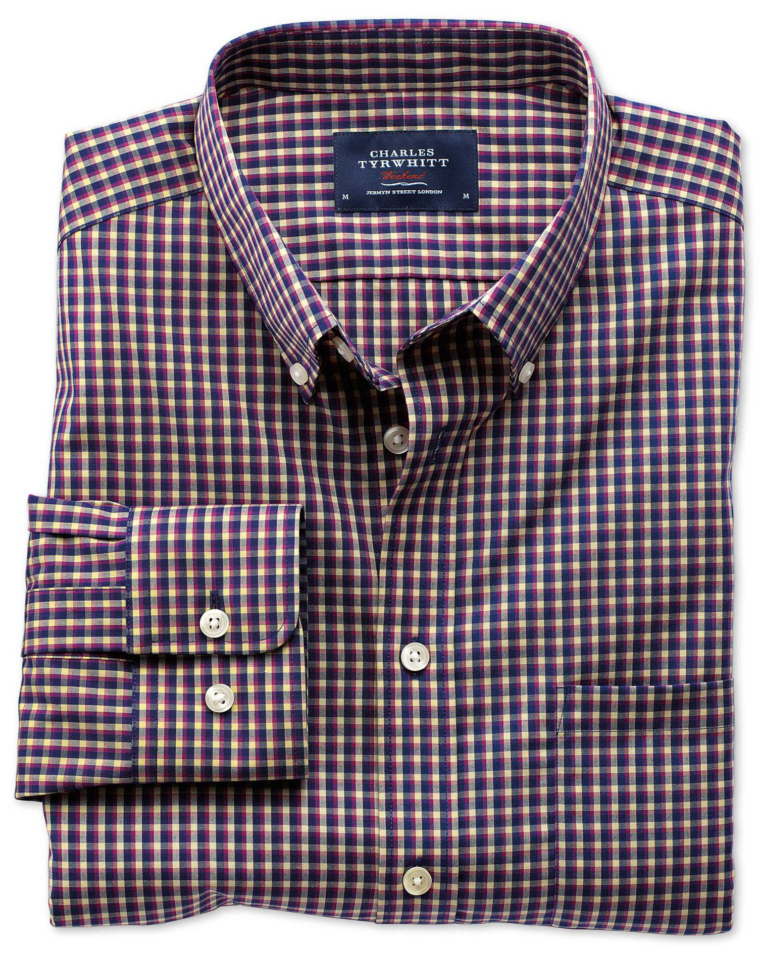 Classic Fit Non-Iron Poplin Navy and Berry Check Cotton Shirt Single Cuff Size Large by Charles Tyrw