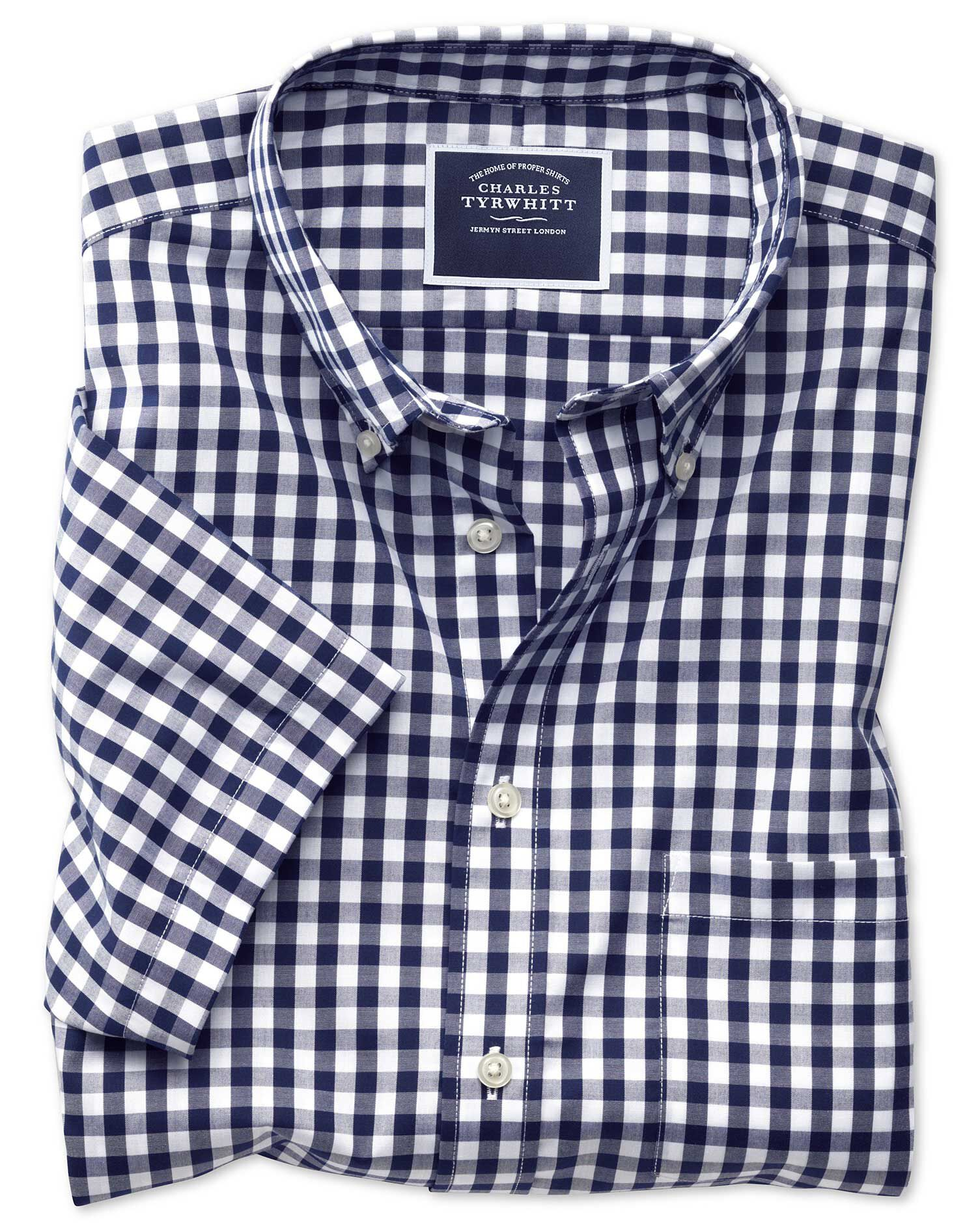 Classic Fit Button-Down Non-Iron Poplin Short Sleeve Navy Blue Gingham Cotton Shirt Single Cuff Size