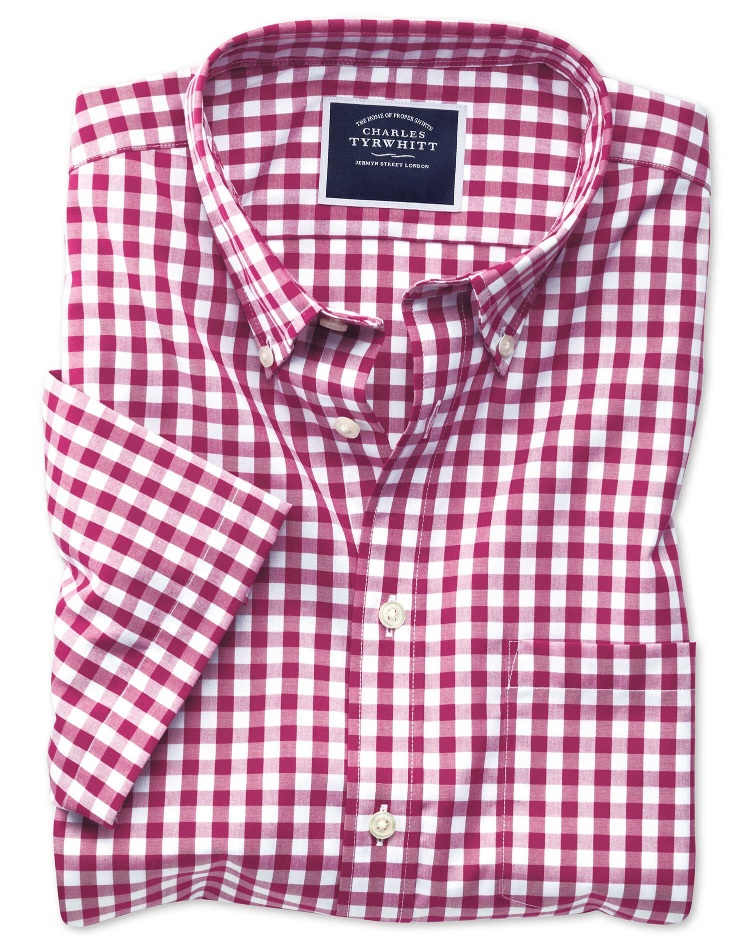 Classic Fit Button-Down Non-Iron Poplin Short Sleeve Raspberry Gingham Cotton Shirt Single Cuff Size