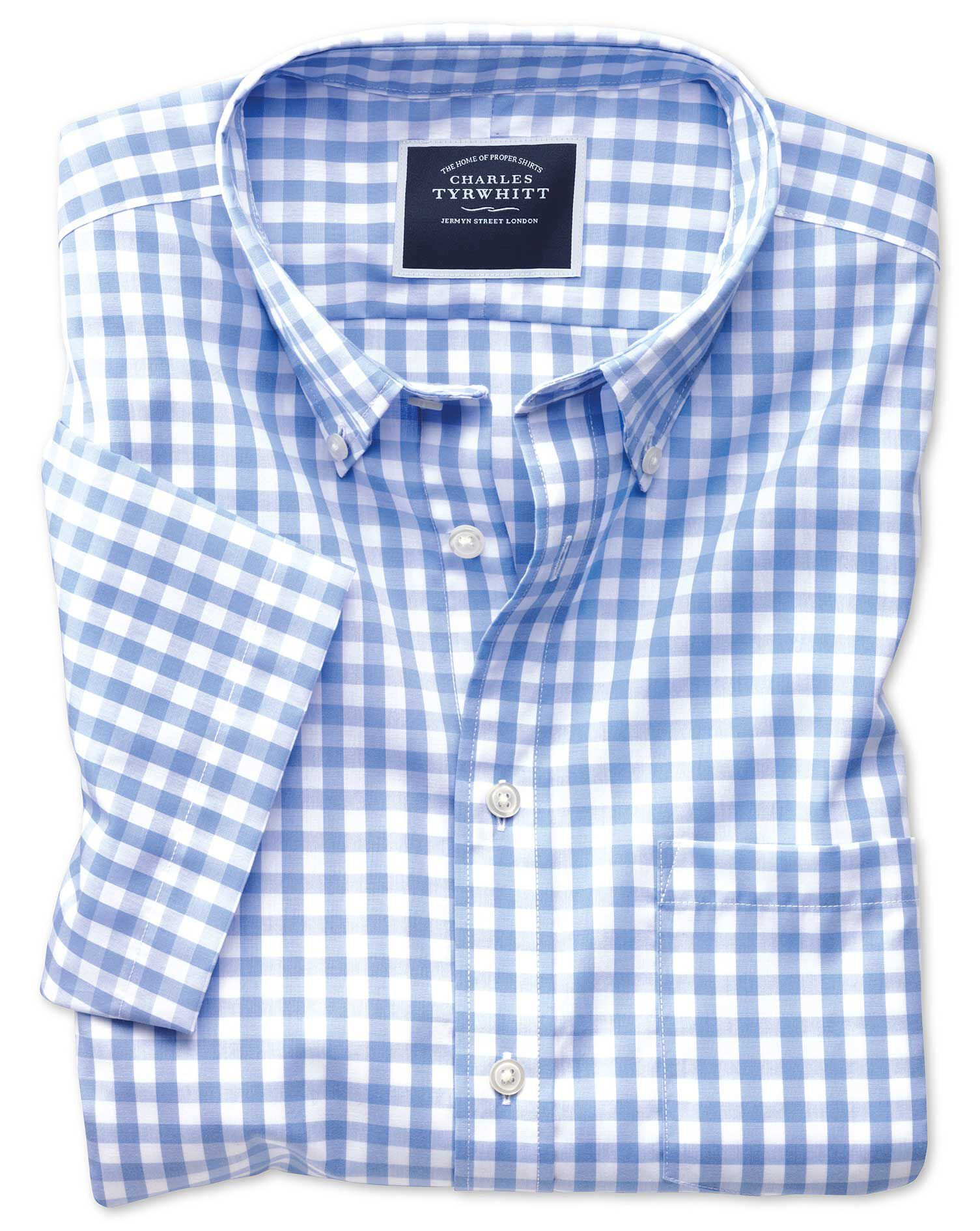 Classic Fit Button-Down Non-Iron Poplin Short Sleeve Sky Blue Gingham Cotton Shirt Single Cuff Size