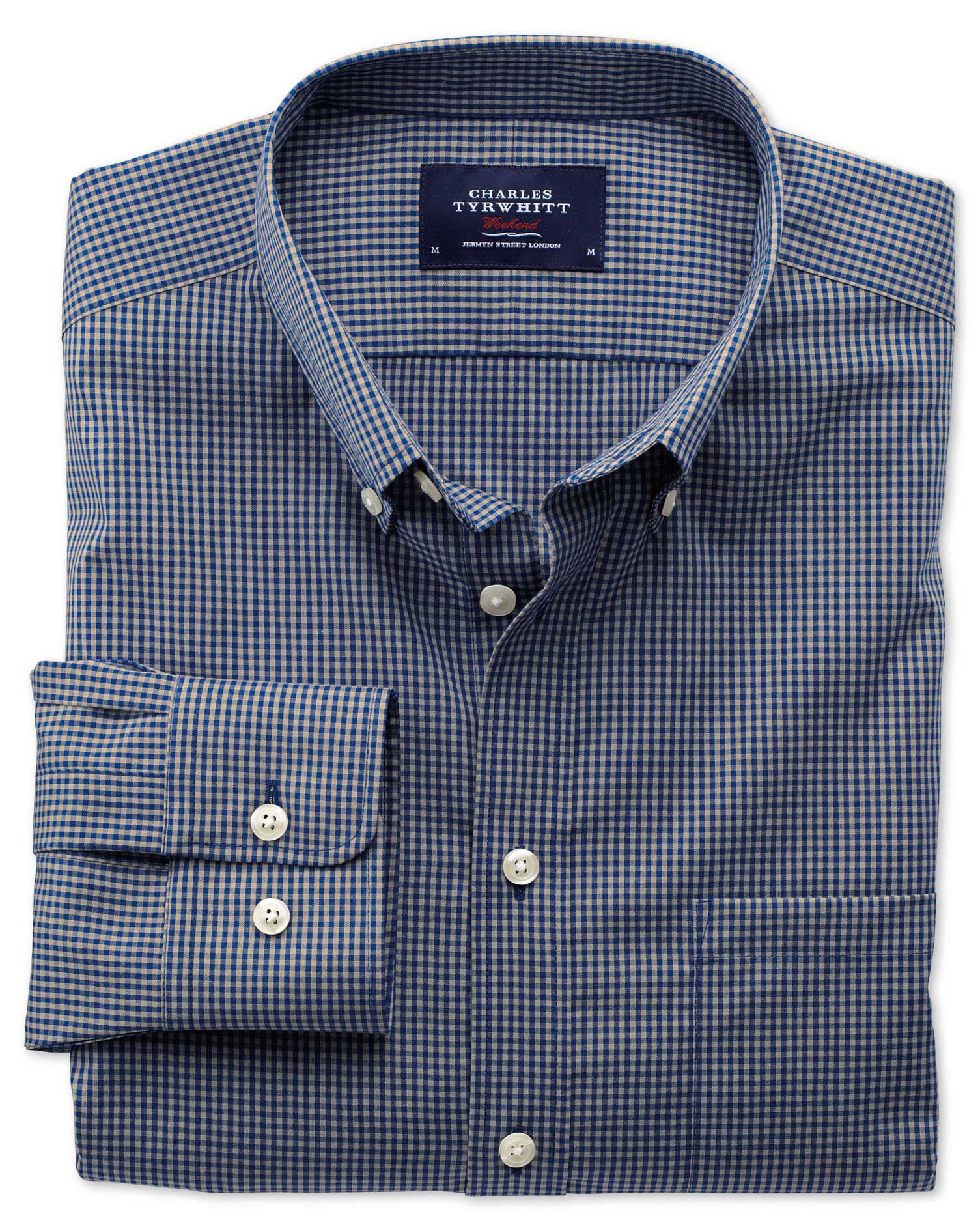 Slim Fit Non-Iron Poplin Blue and Grey Check Cotton Shirt Single Cuff Size XS by Charles Tyrwhitt