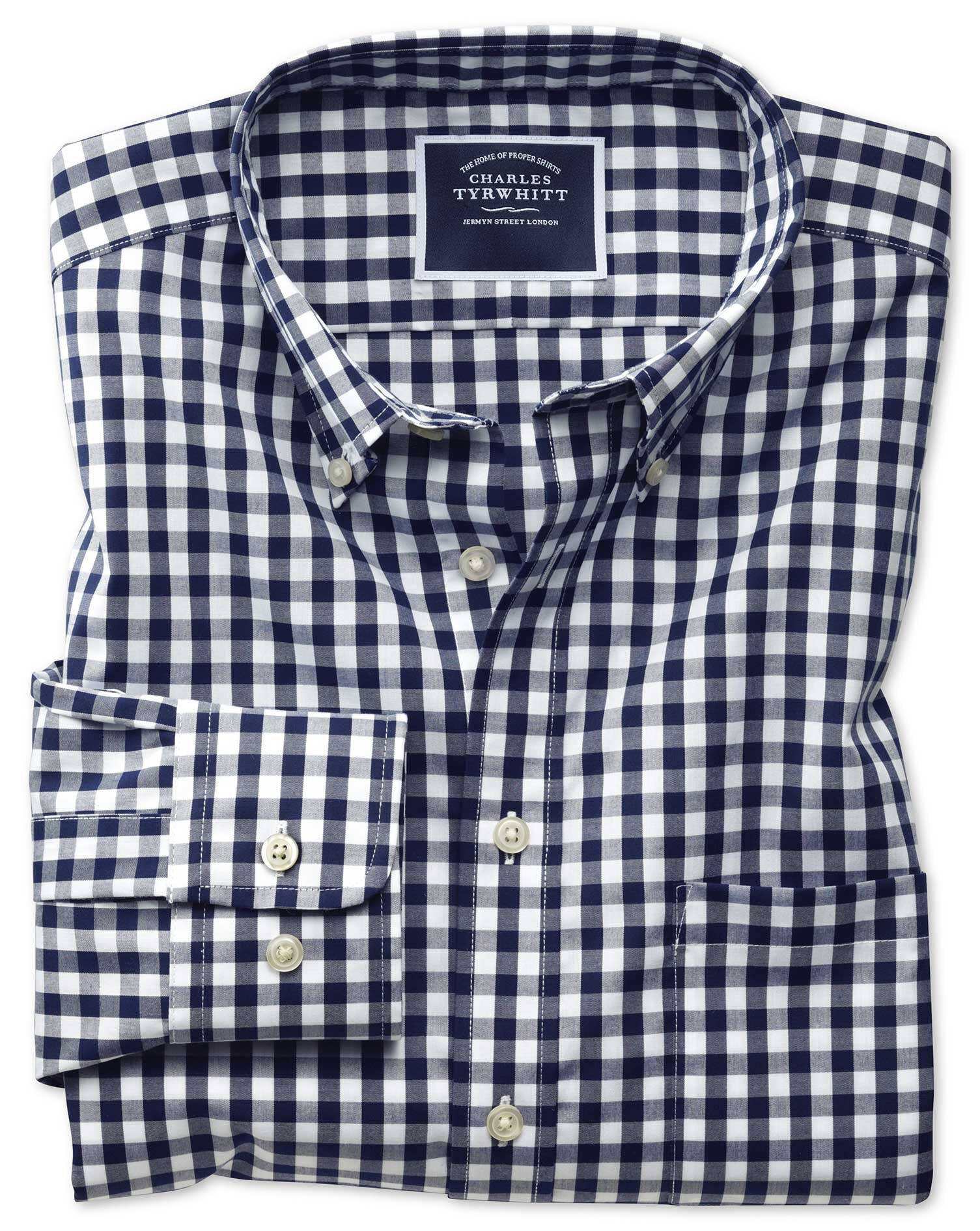 Slim Fit Non-Iron Poplin Navy Gingham Cotton Shirt Single Cuff Size Large by Charles Tyrwhitt
