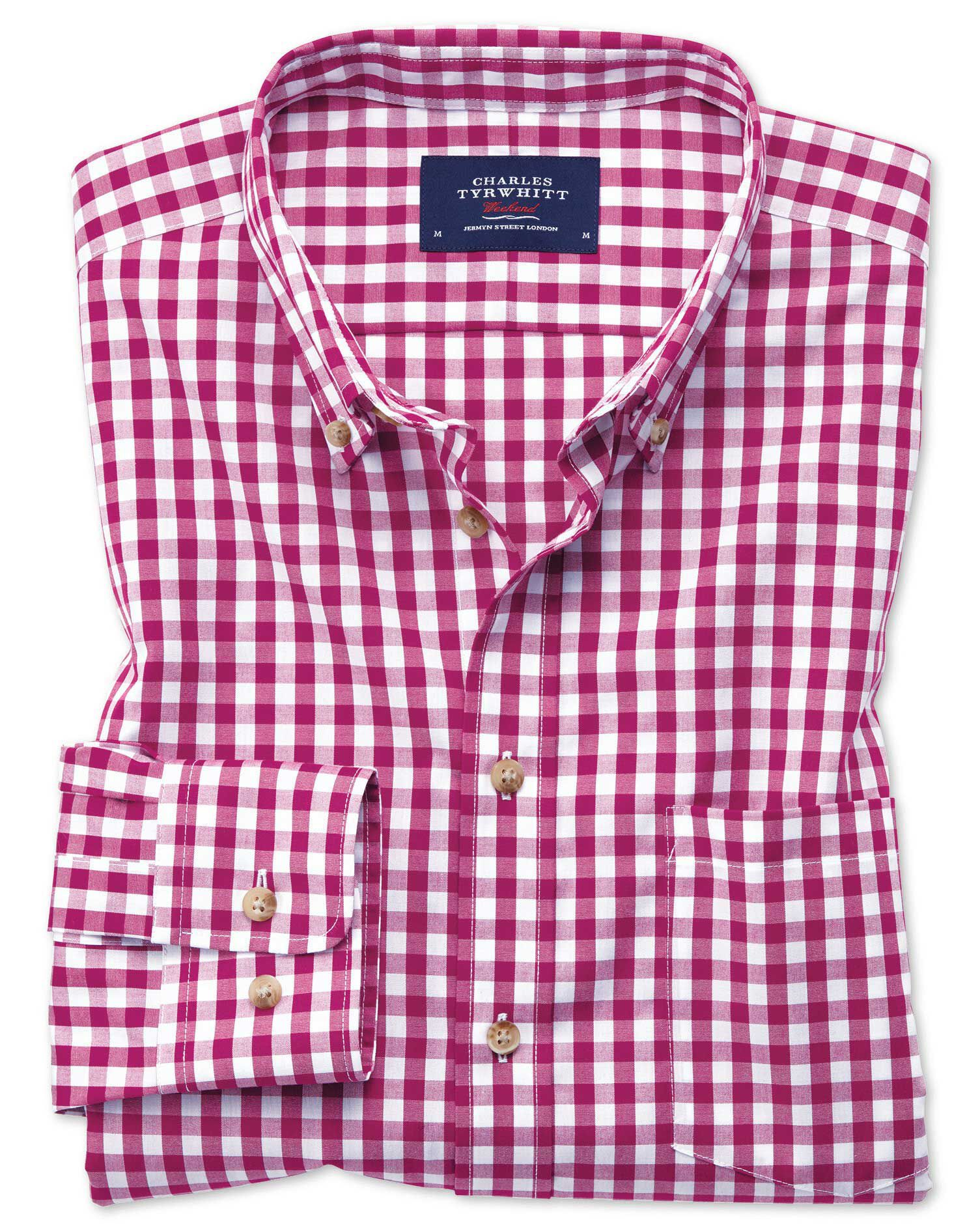 Classic Fit Non-Iron Poplin Red Gingham Cotton Shirt Single Cuff Size Large by Charles Tyrwhitt