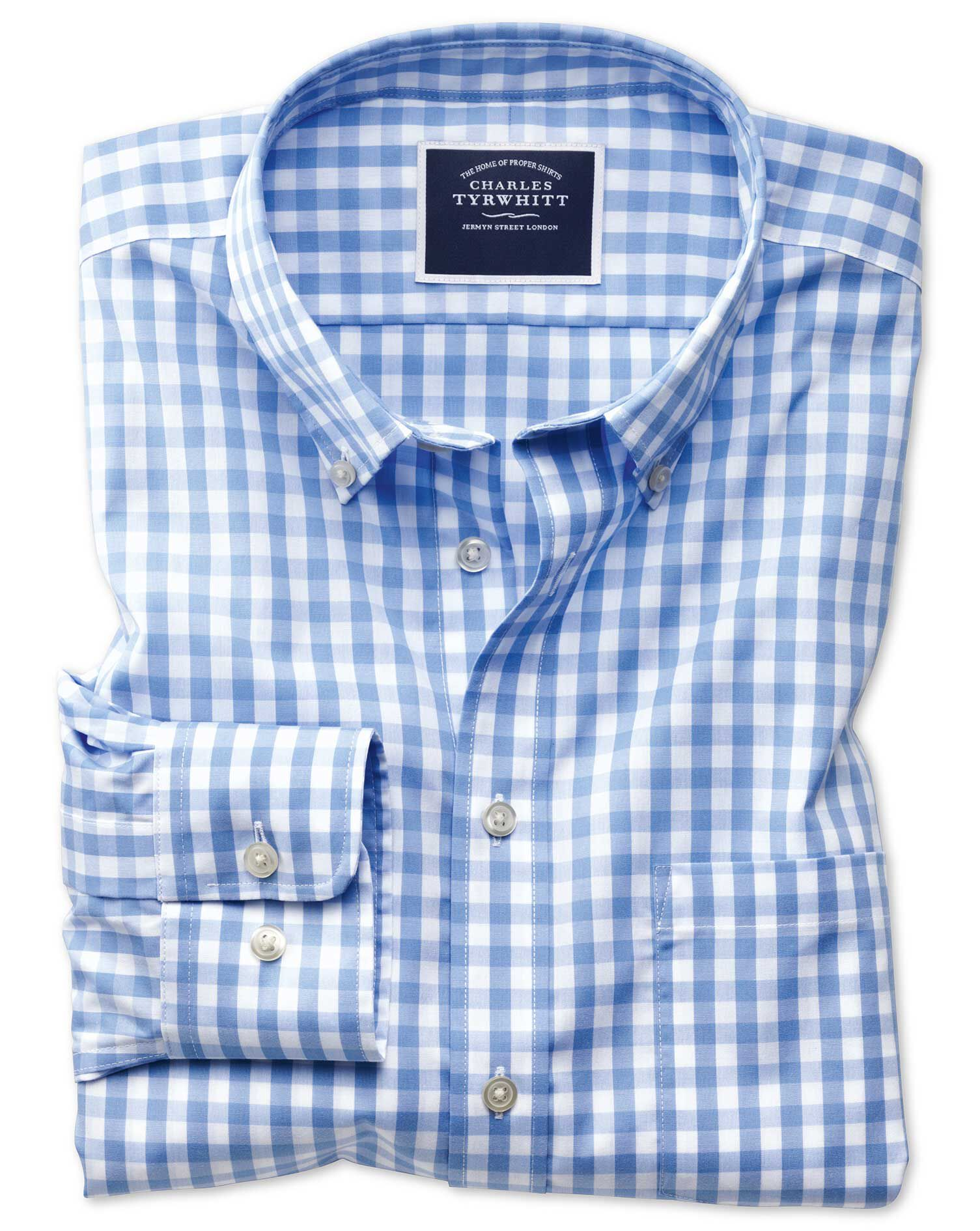 Slim Fit Non-Iron Poplin Sky Blue Gingham Cotton Shirt Single Cuff Size Small by Charles Tyrwhitt