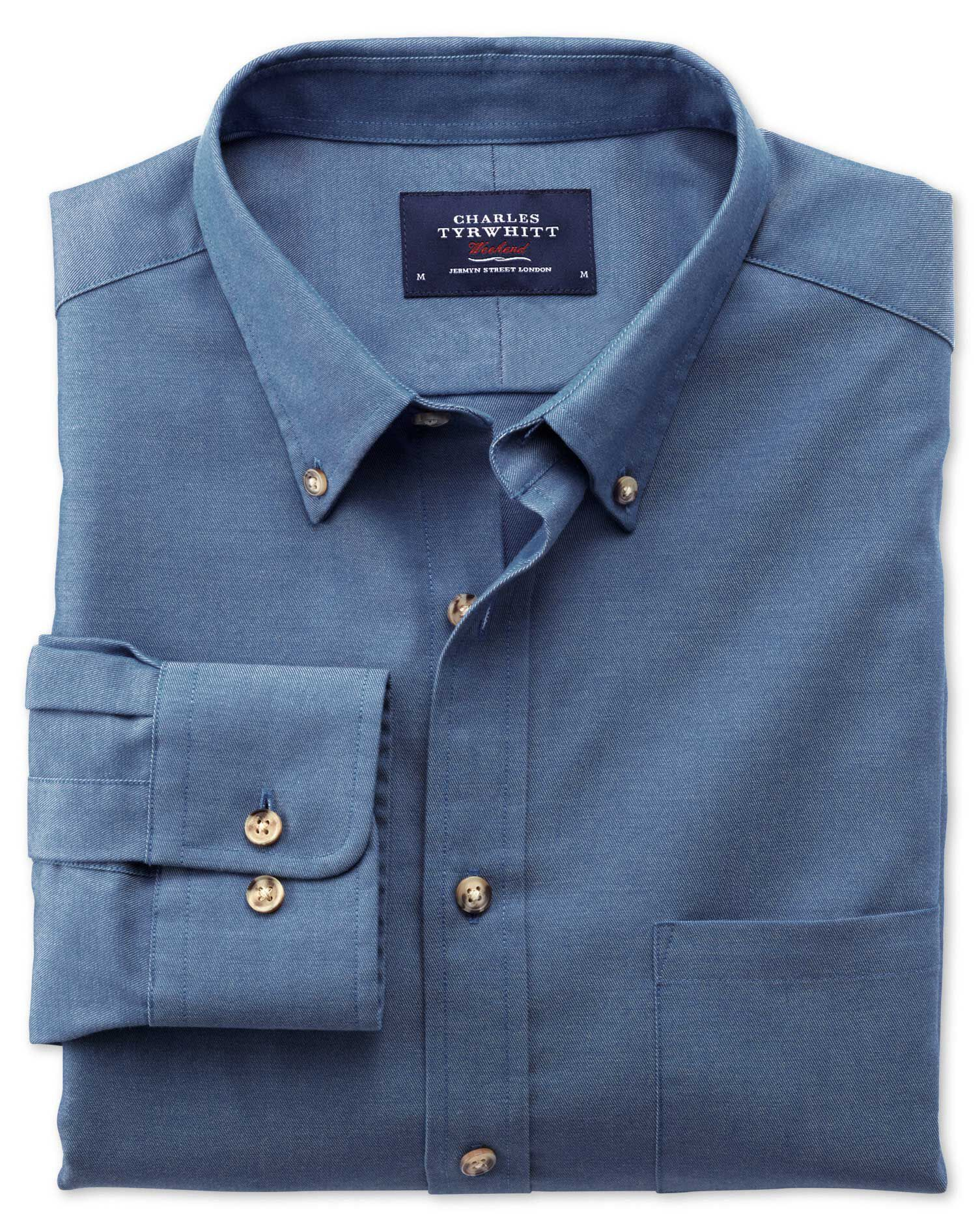 Extra Slim Fit Non-Iron Twill Blue Cotton Shirt Single Cuff Size Large by Charles Tyrwhitt