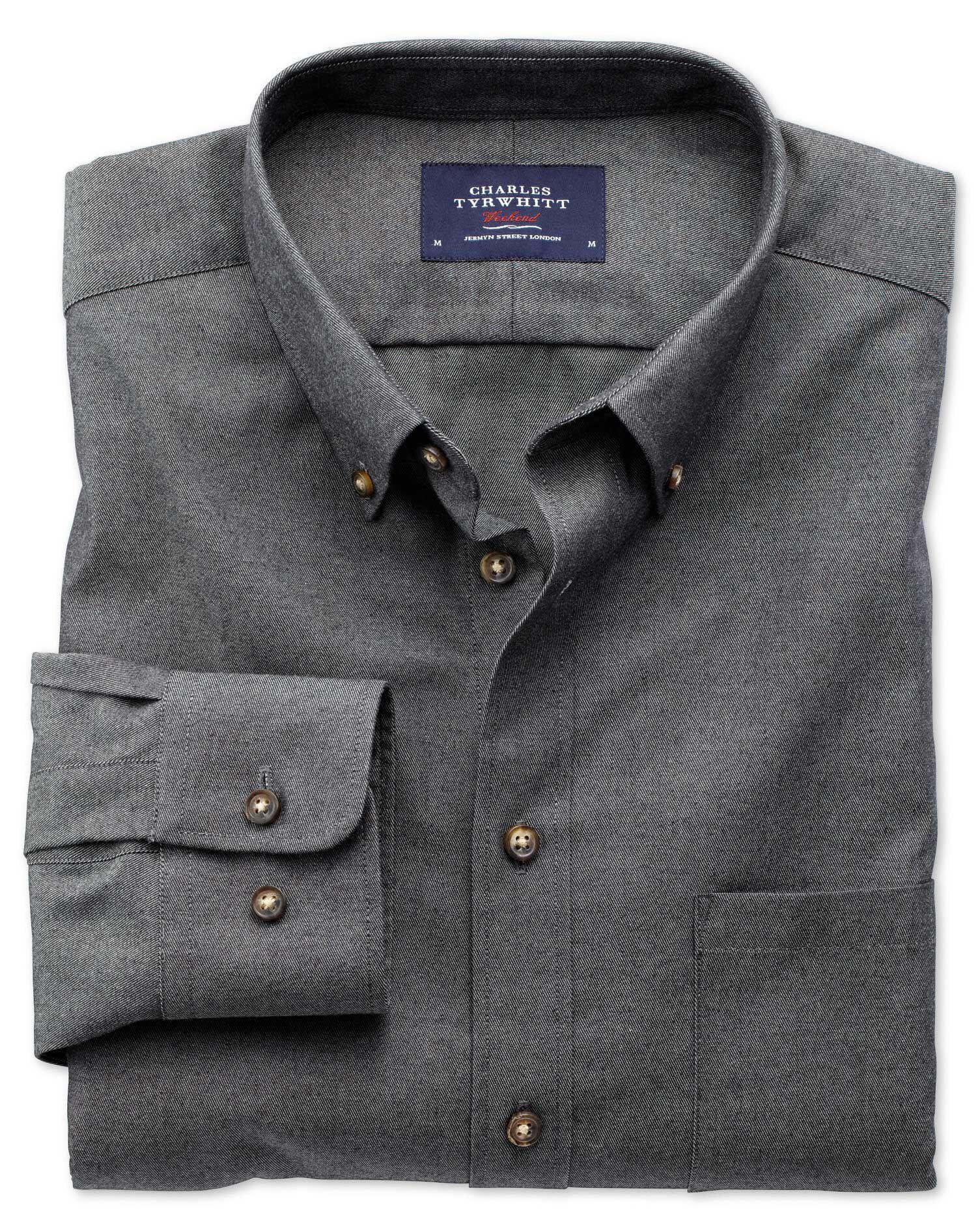 Extra Slim Fit Non-Iron Twill Dark Grey Cotton Shirt Single Cuff Size Large by Charles Tyrwhitt