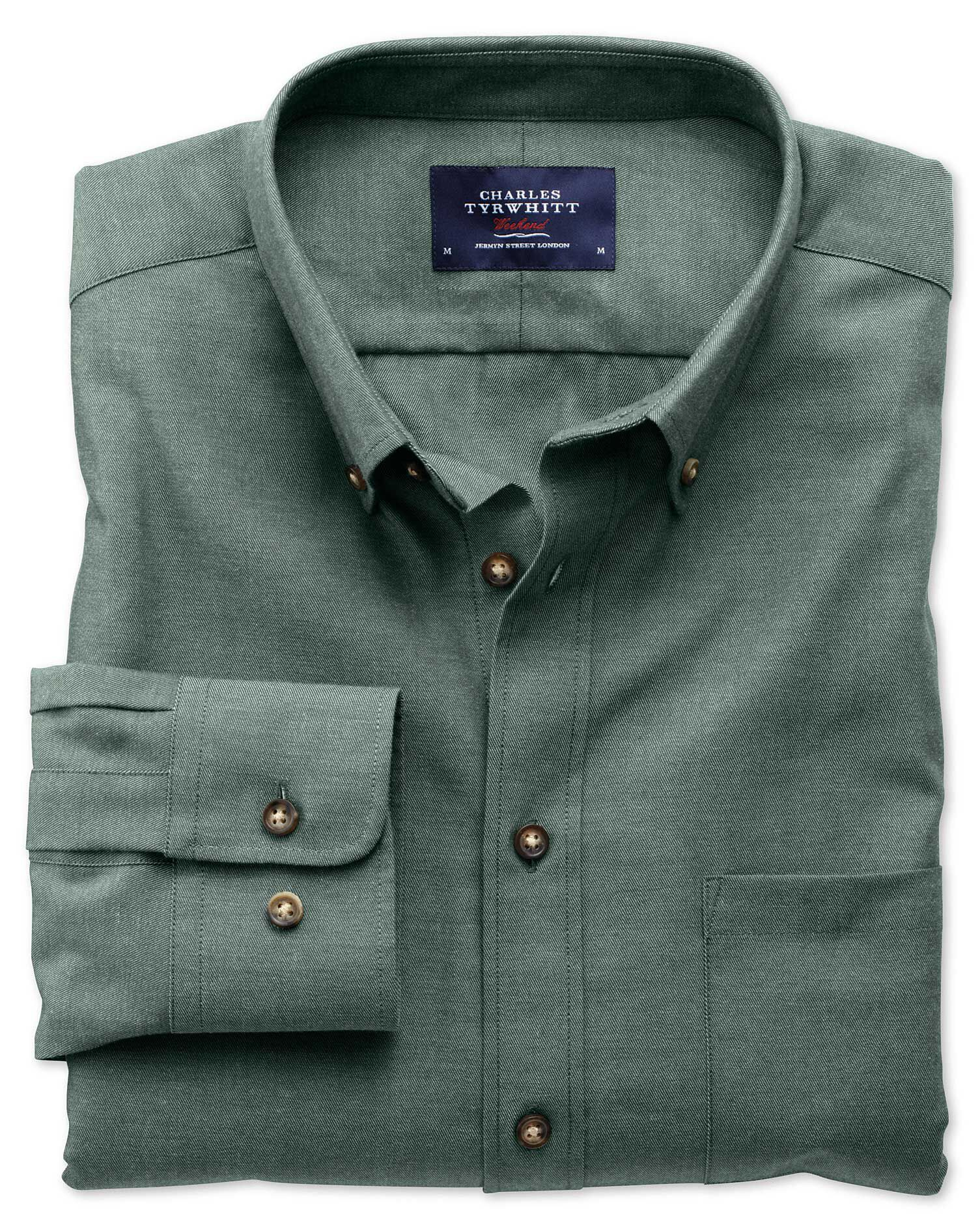 Extra Slim Fit Non-Iron Twill Forest Green Cotton Shirt Single Cuff Size XS by Charles Tyrwhitt