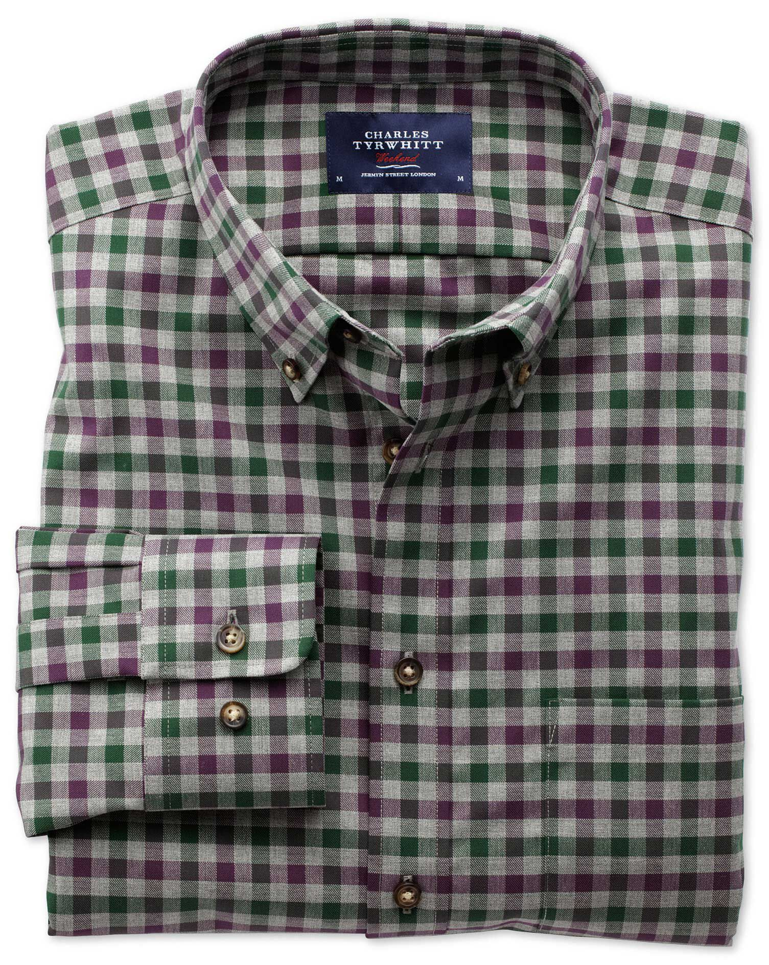 Extra Slim Fit Non-Iron Twill Wine and Green Check Cotton Shirt Single Cuff Size XS by Charles Tyrwh