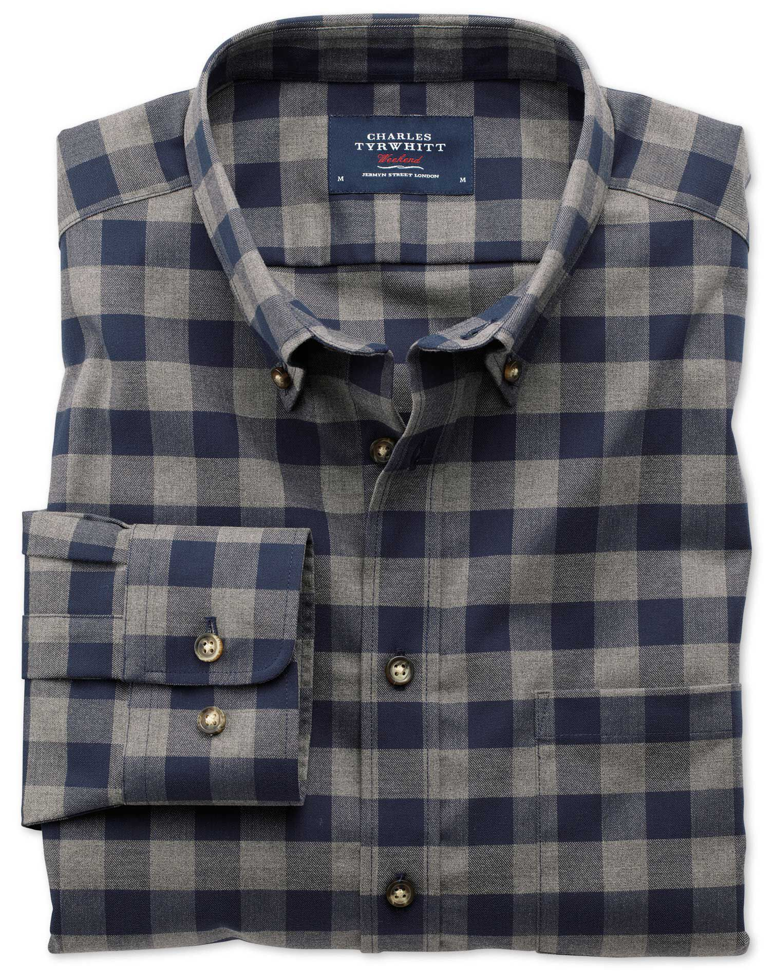Extra Slim Fit Non-Iron Twill Navy and Grey Check Cotton Shirt Single Cuff Size XS by Charles Tyrwhi