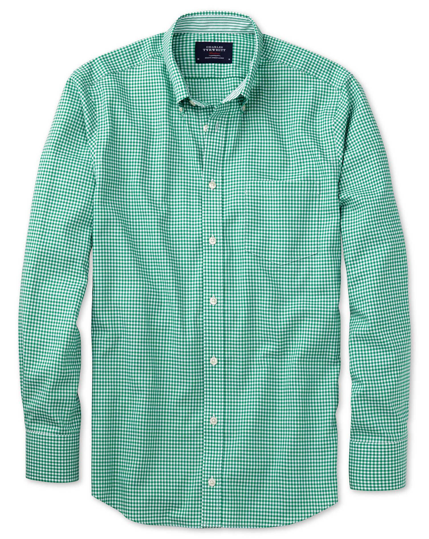 Classic Fit Non-Iron Oxford Gingham Mid Green Cotton Shirt Single Cuff Size Medium by Charles Tyrwhi