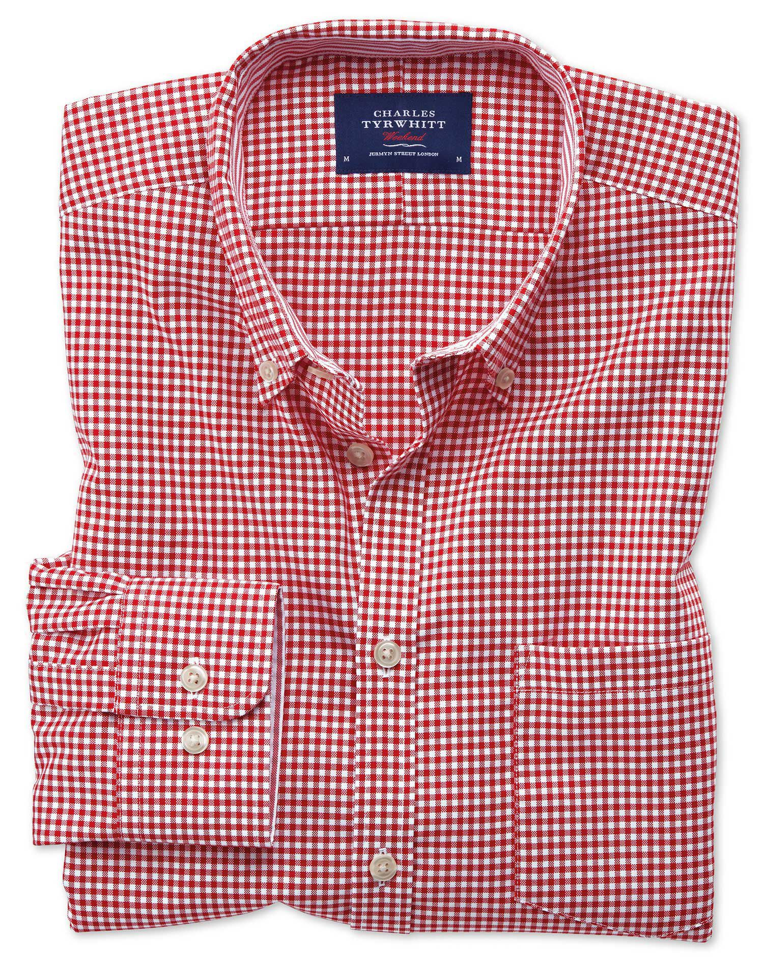 Extra Slim Fit Button-Down Non-Iron Oxford Gingham Red Cotton Shirt Single Cuff Size XS by Charles T