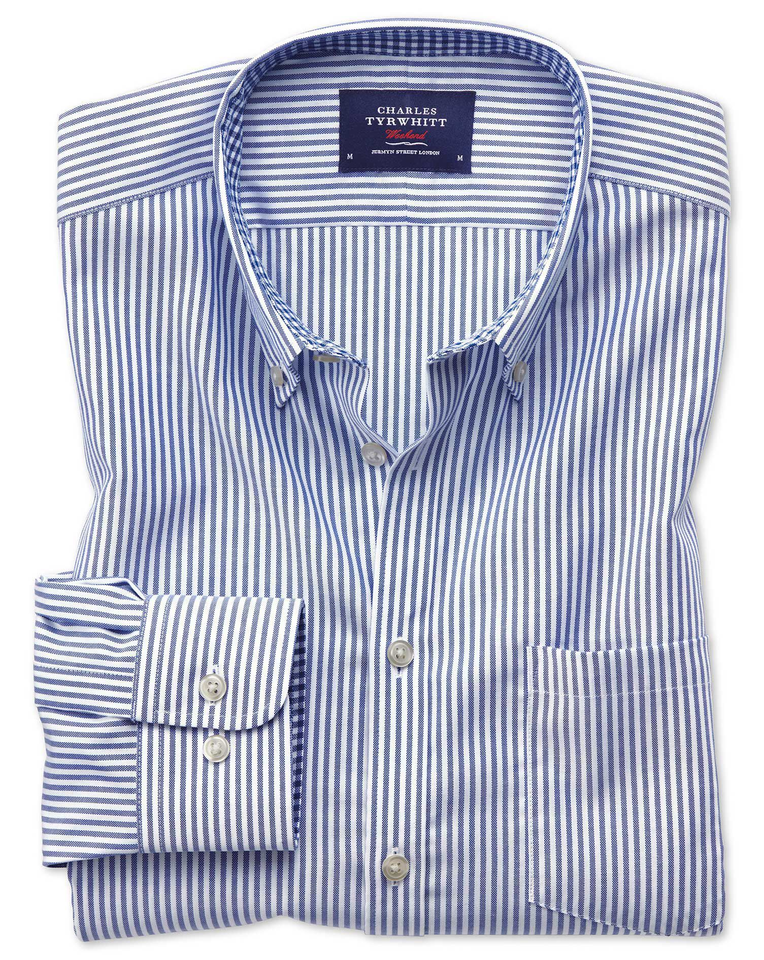 Classic Fit Button-Down Non-Iron Oxford Bengal Stripe Royal Blue Cotton Shirt Single Cuff Size Large