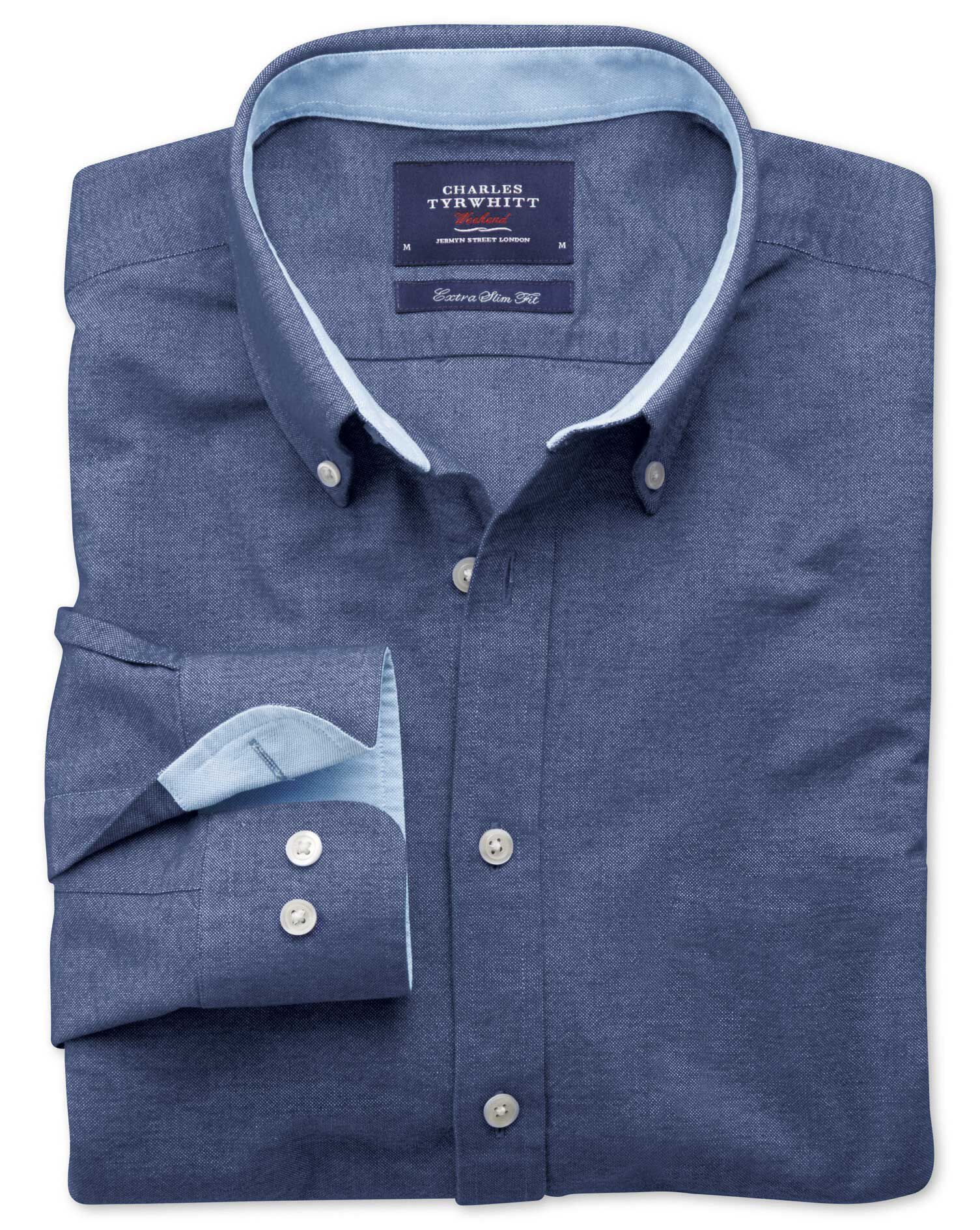 Extra Slim Fit Denim Blue Washed Oxford Cotton Shirt Single Cuff Size Medium by Charles Tyrwhitt