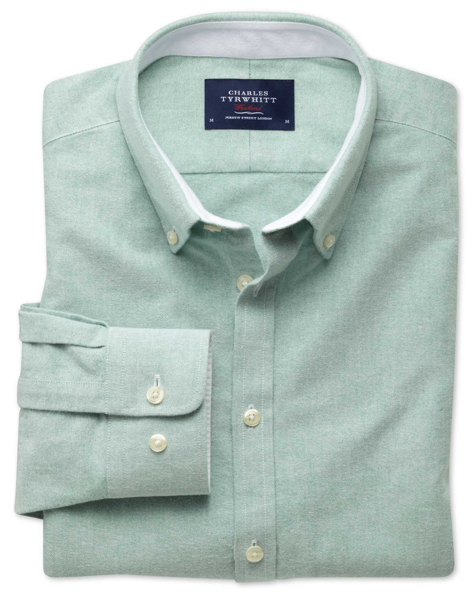 Extra Slim Fit Green Washed Oxford Cotton Shirt Single Cuff Size Medium by Charles Tyrwhitt